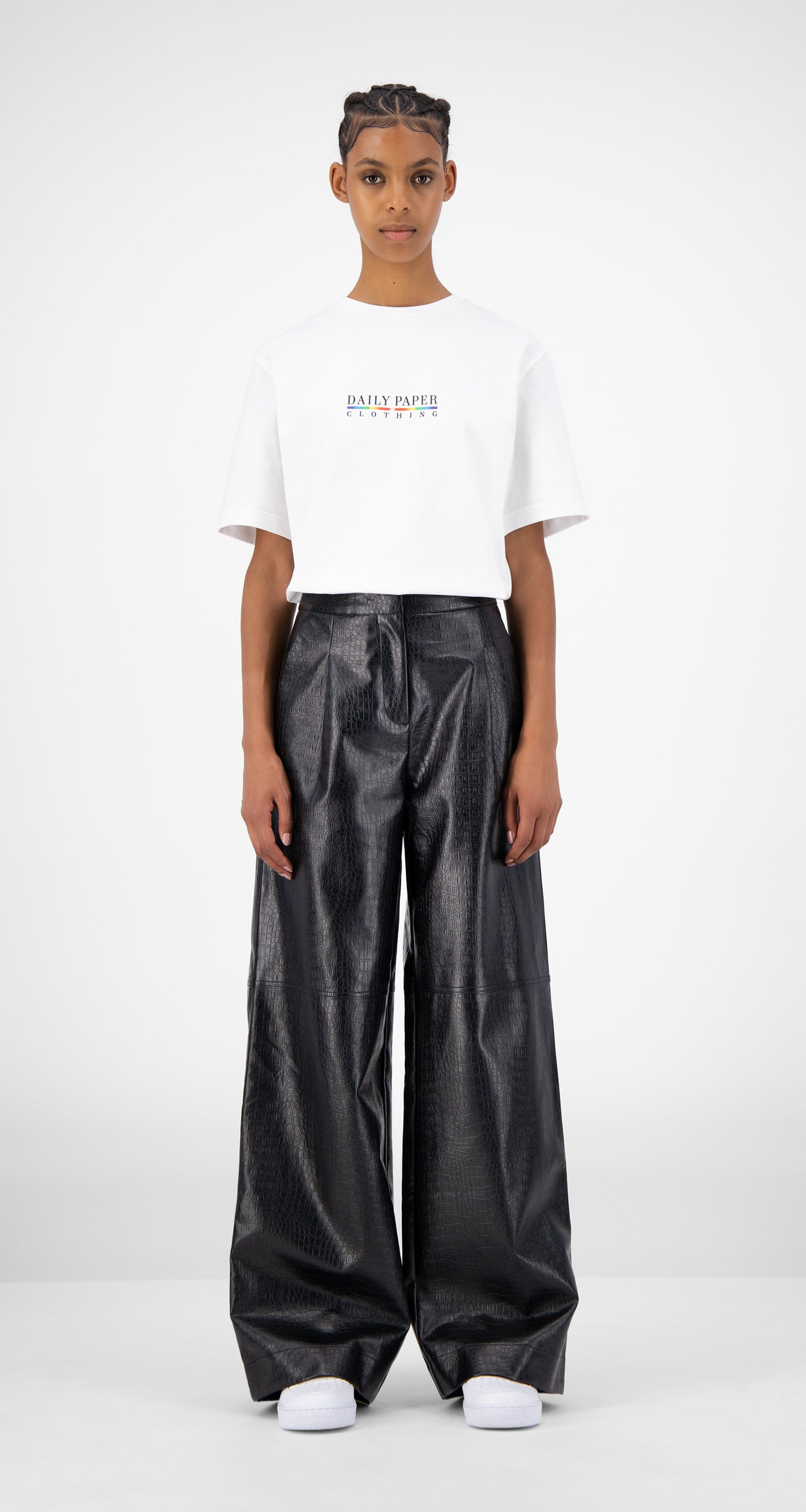 Daily Paper - Black Croco Jalla Pants - Women Front