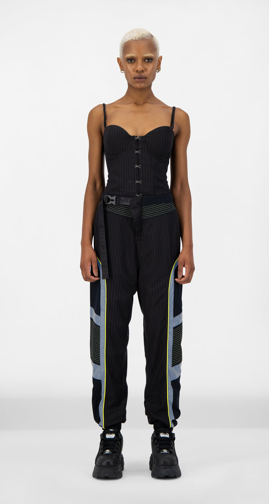 Daily Paper - Navy Pinstripe Jirt Pants - Women Front