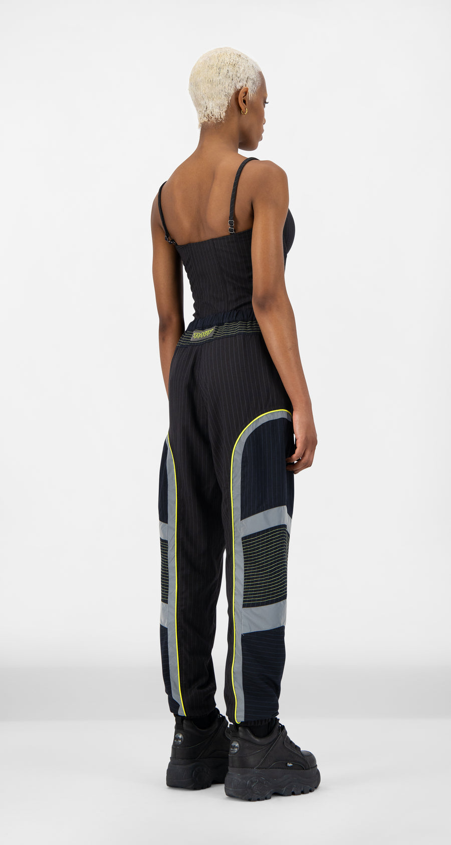 Daily Paper - Navy Pinstripe Jirt Pants - Women Rear