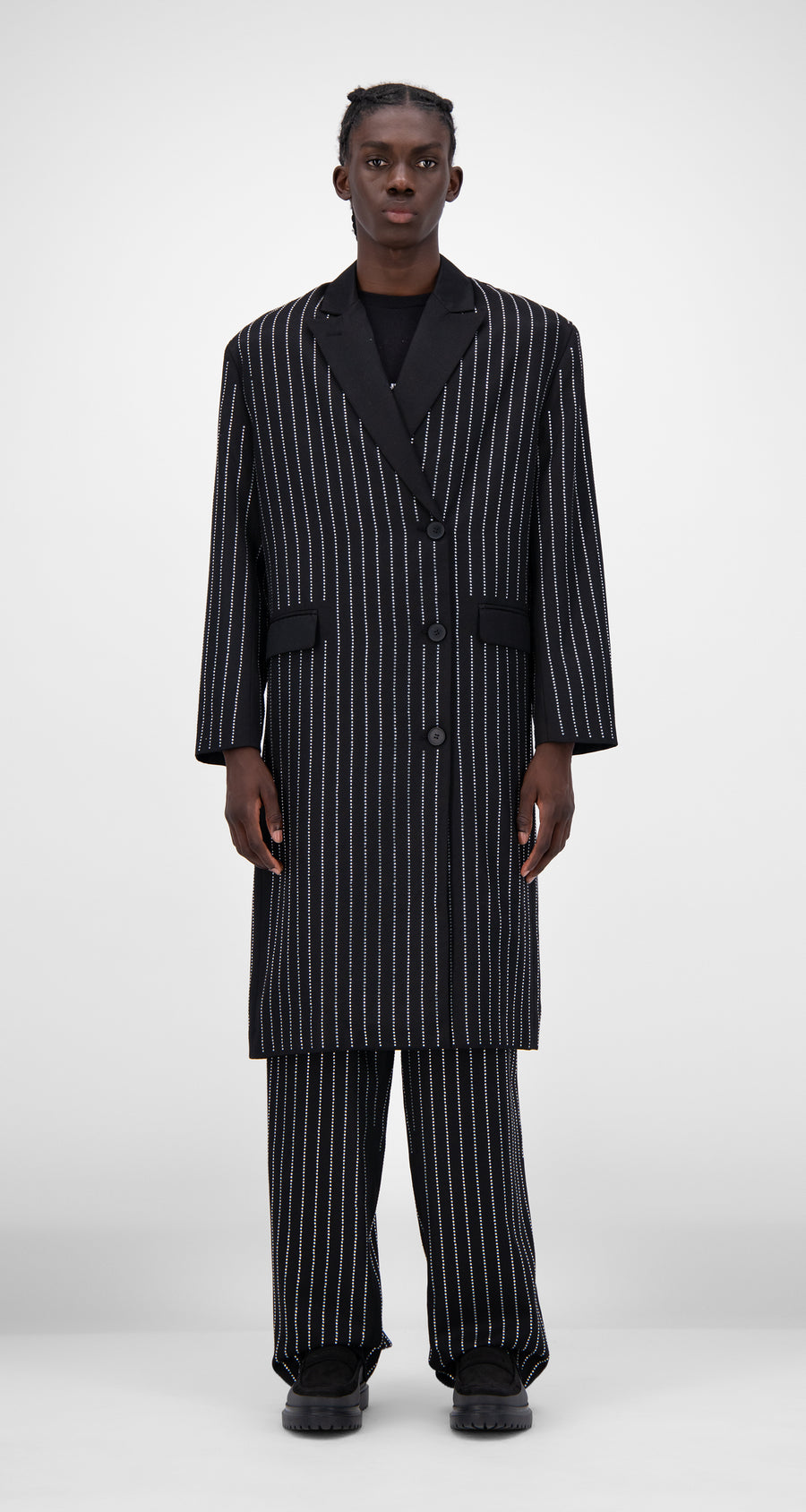 Daily Paper - Black Rhinestone Jeckta Coat - Men Front