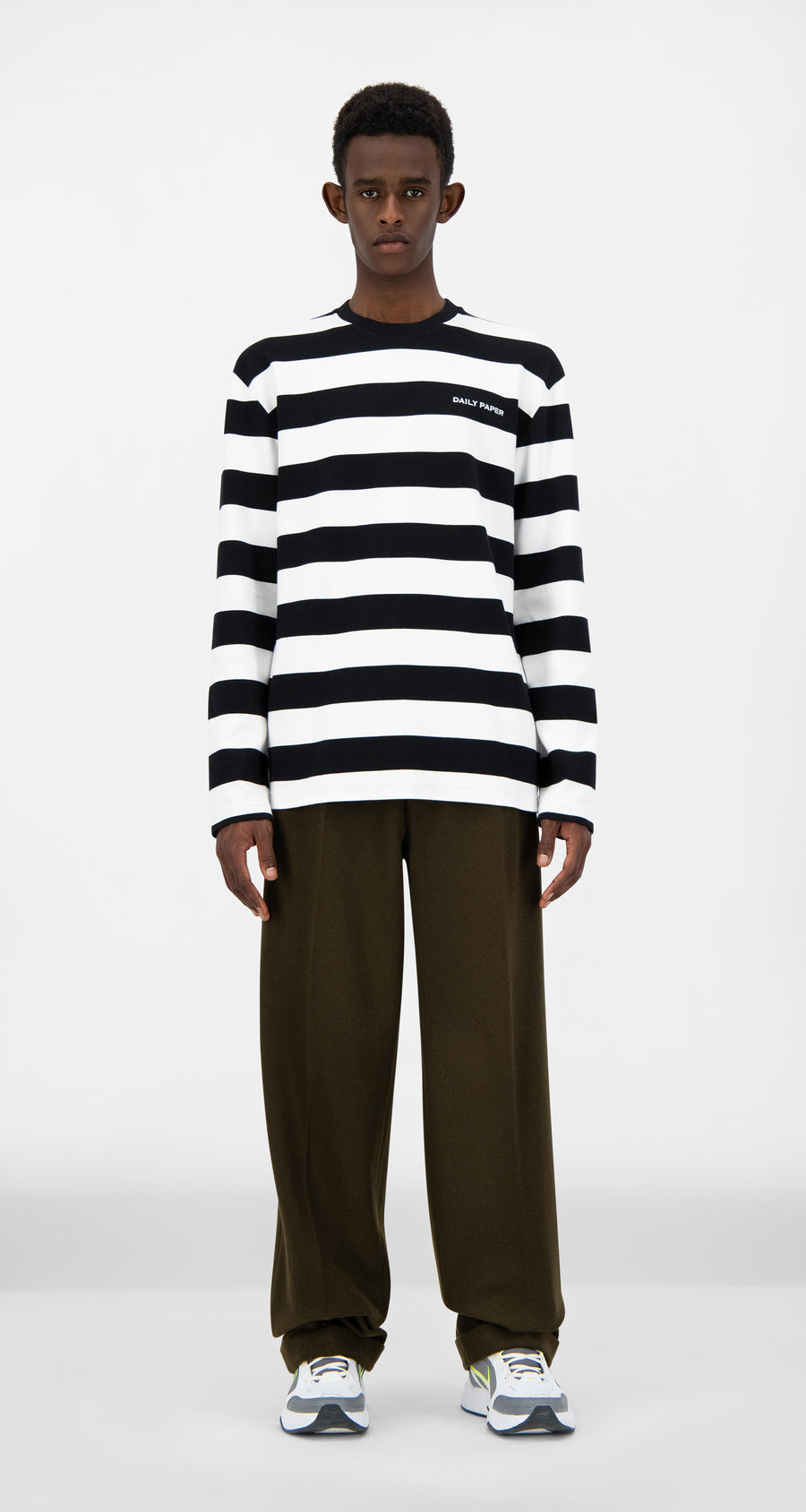 Daily Paper - Black Striped Pith Longsleeve - Men Front