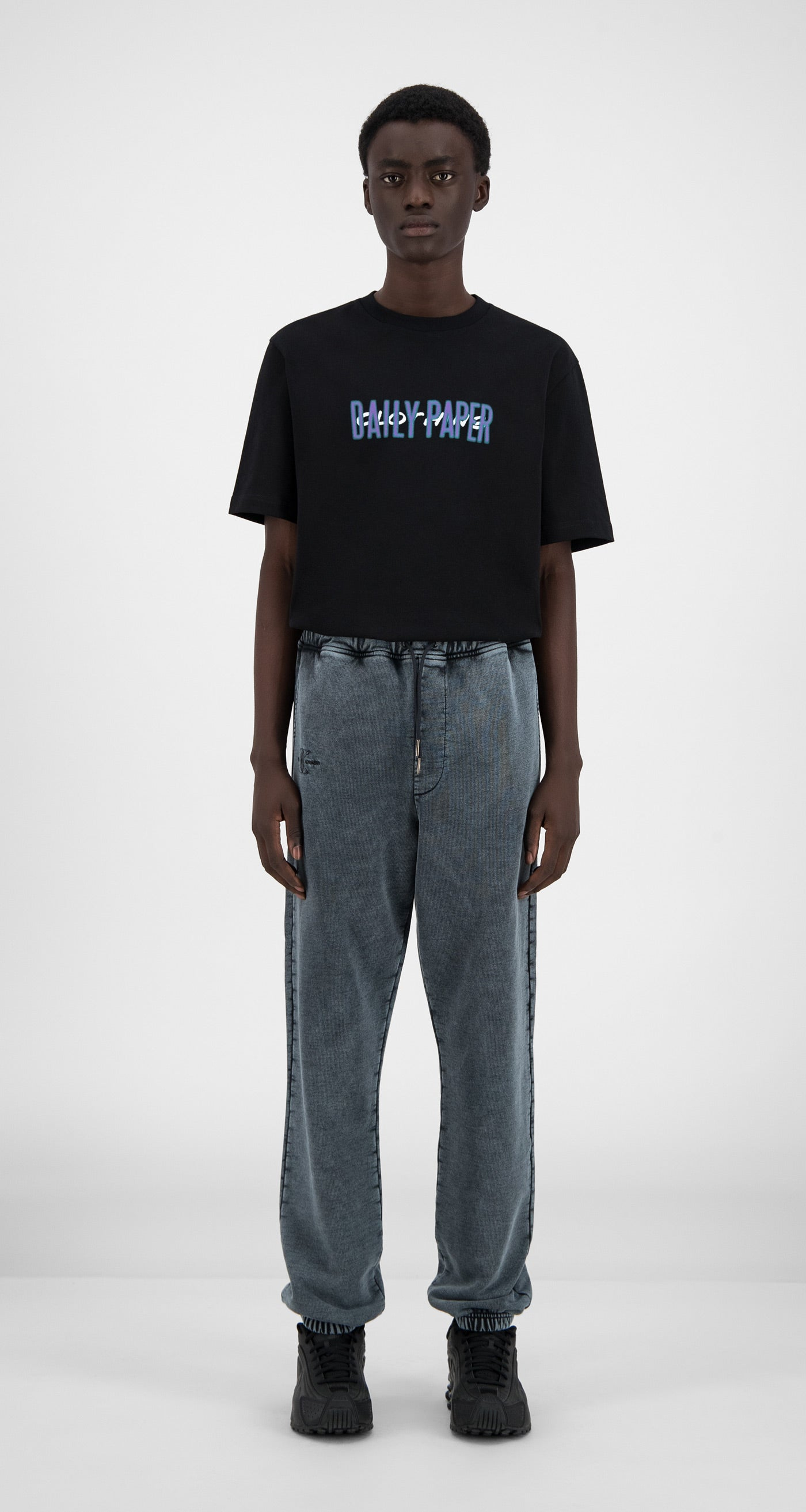 Daily Paper - Washed Black Hacid Pants - Men Front