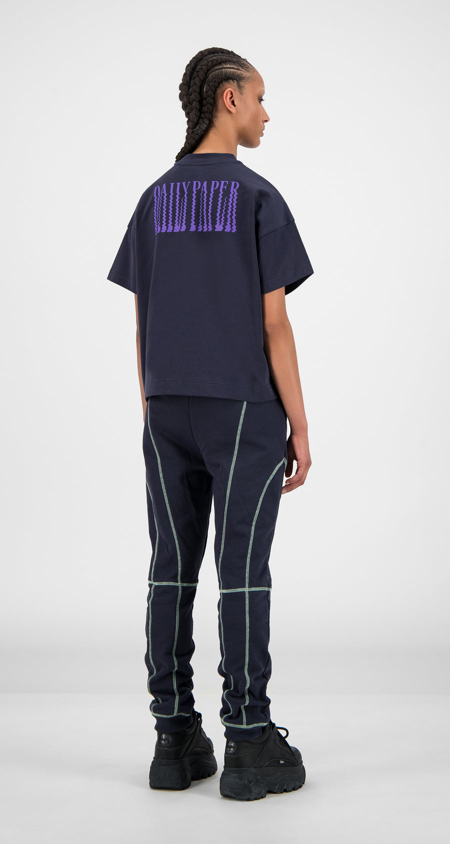 Daily Paper - Navy Iris Hiceblai T-Shirt - Women Rear