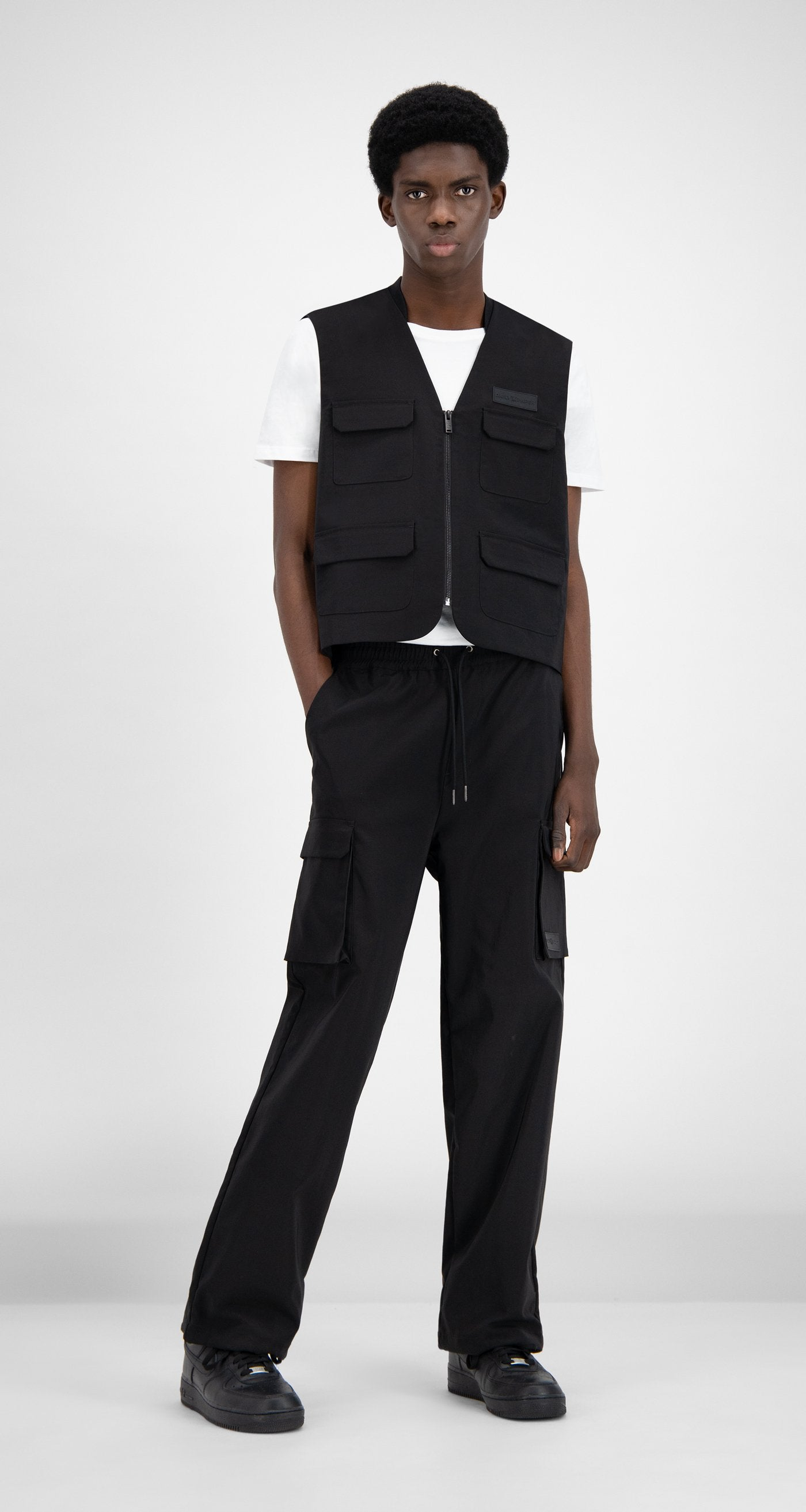 Daily Paper - Black Recargo Trackpants - Men Front