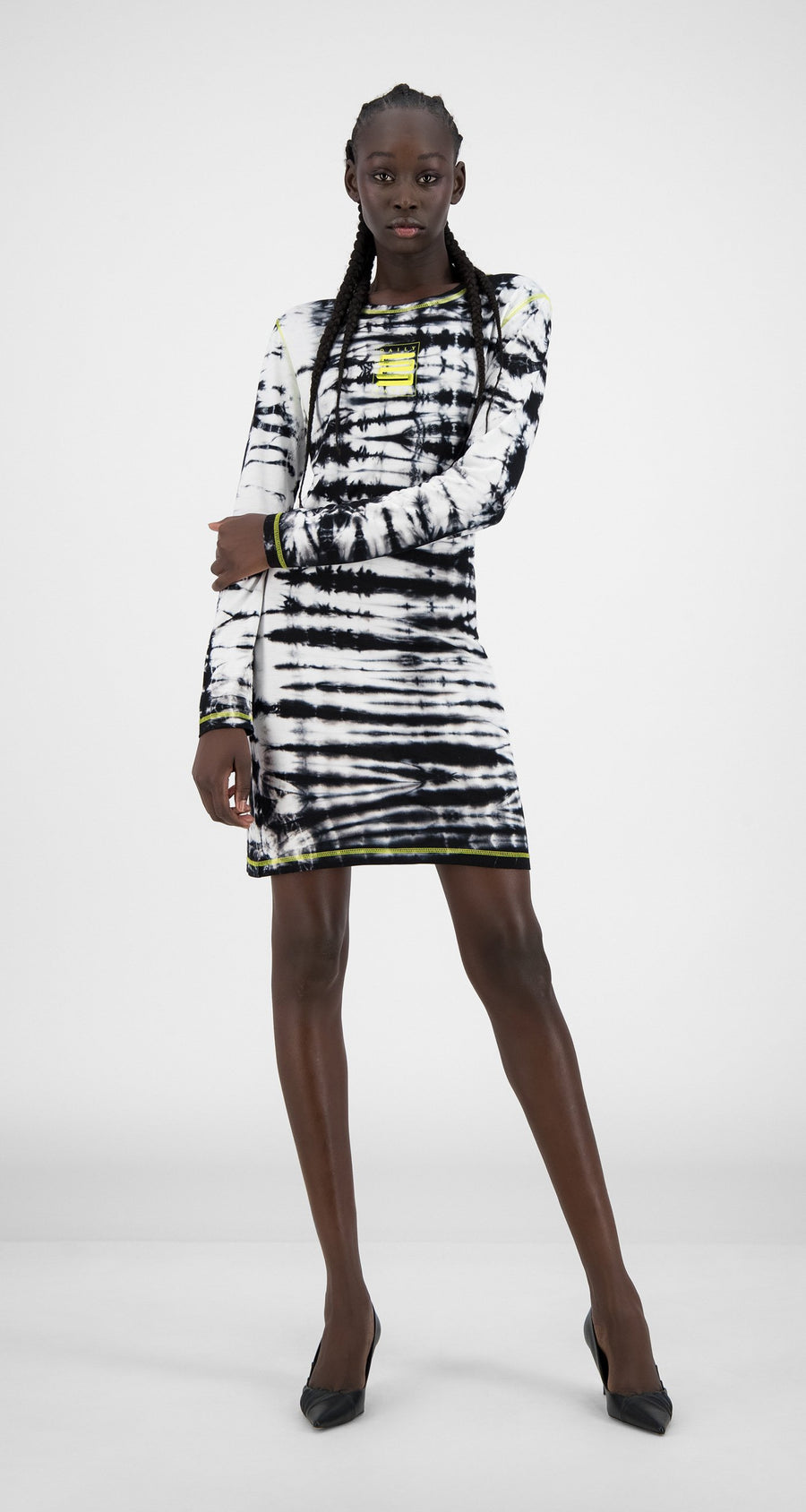Daily Paper - Black White Shibori Hava Dress - Women Front