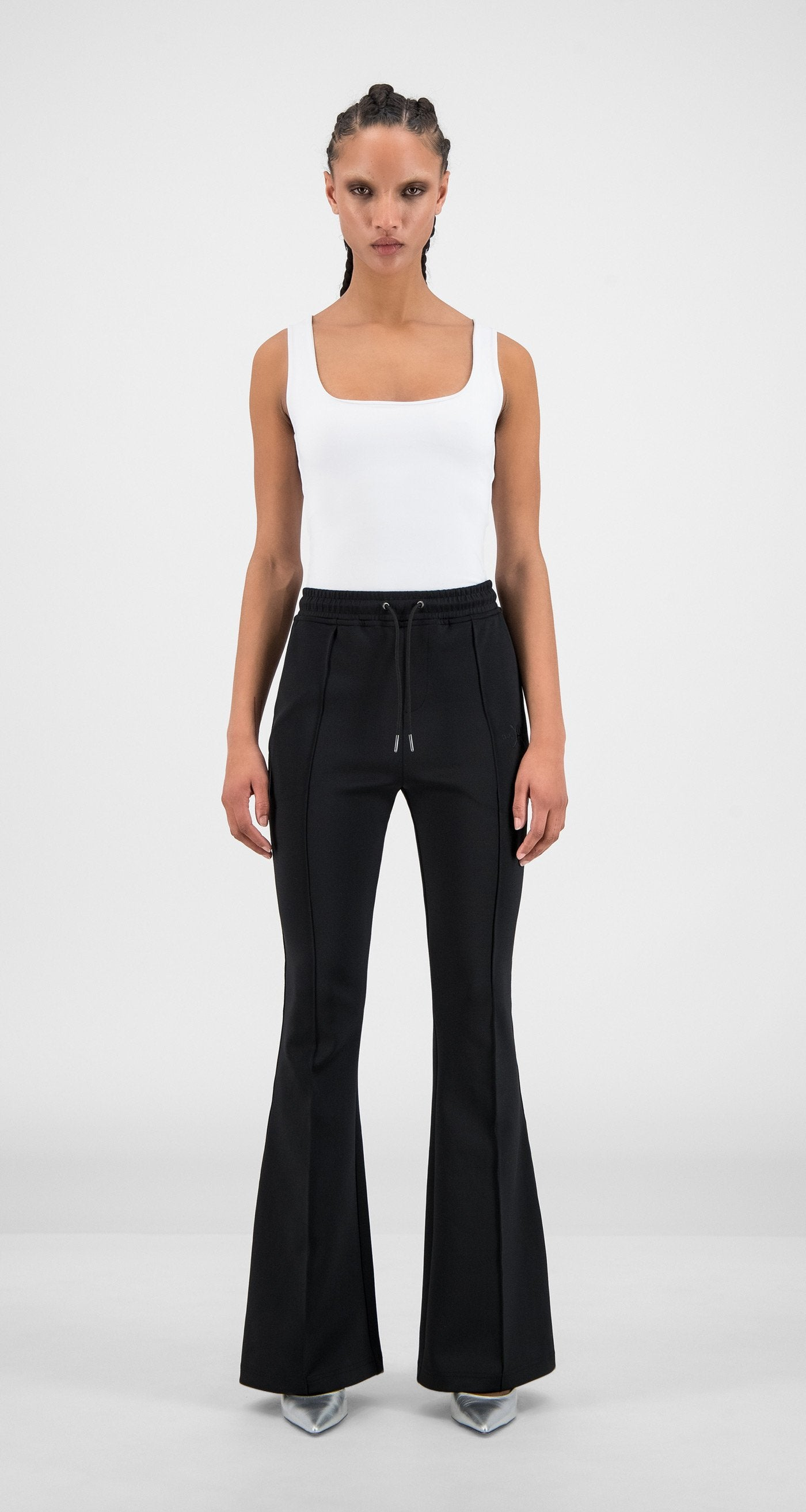 Daily Paper - Black Tape Logo Flair Pants - Women Front