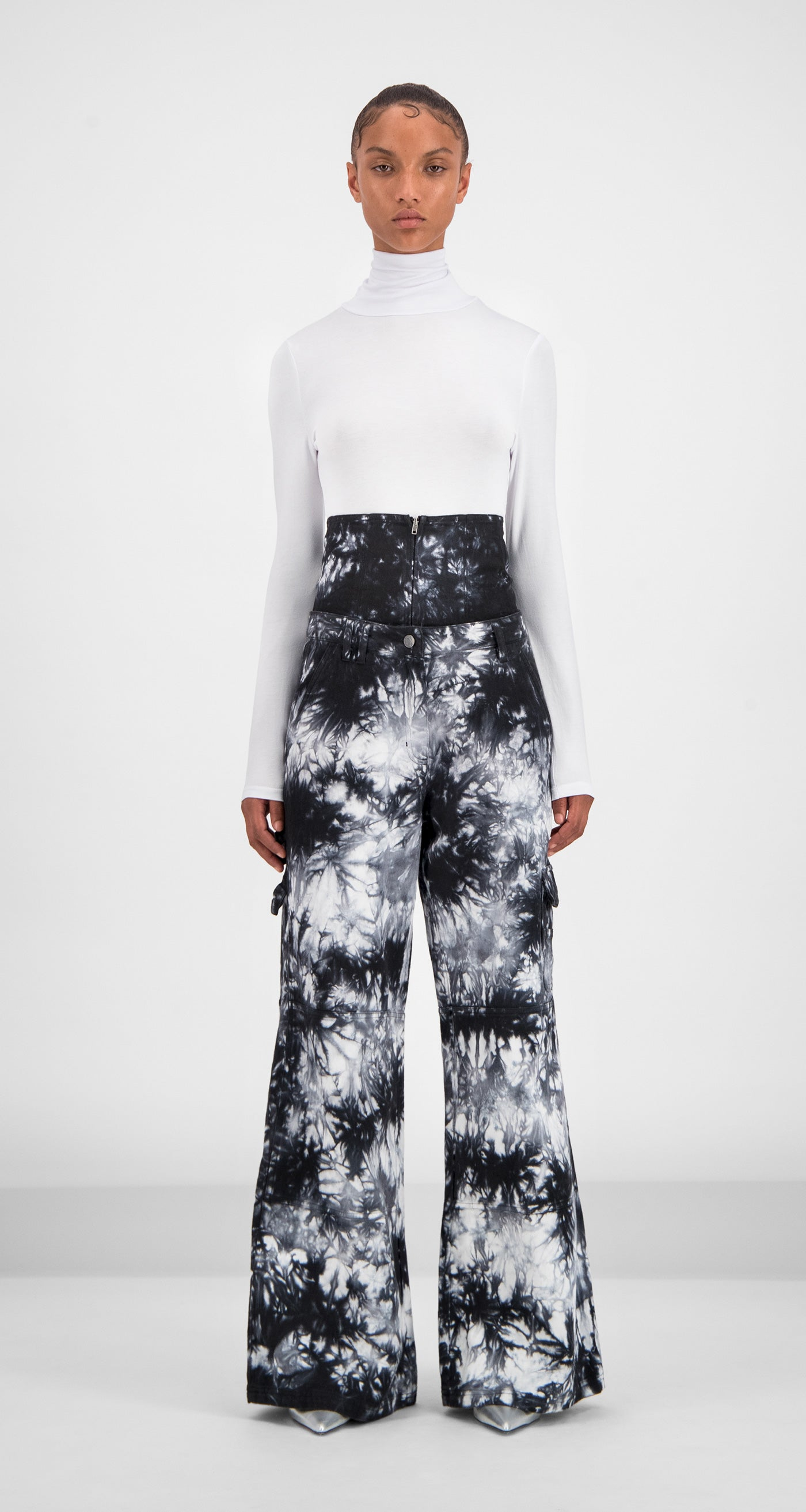 Daily Paper - Black White Tie Dye Gemma Pants Women Front