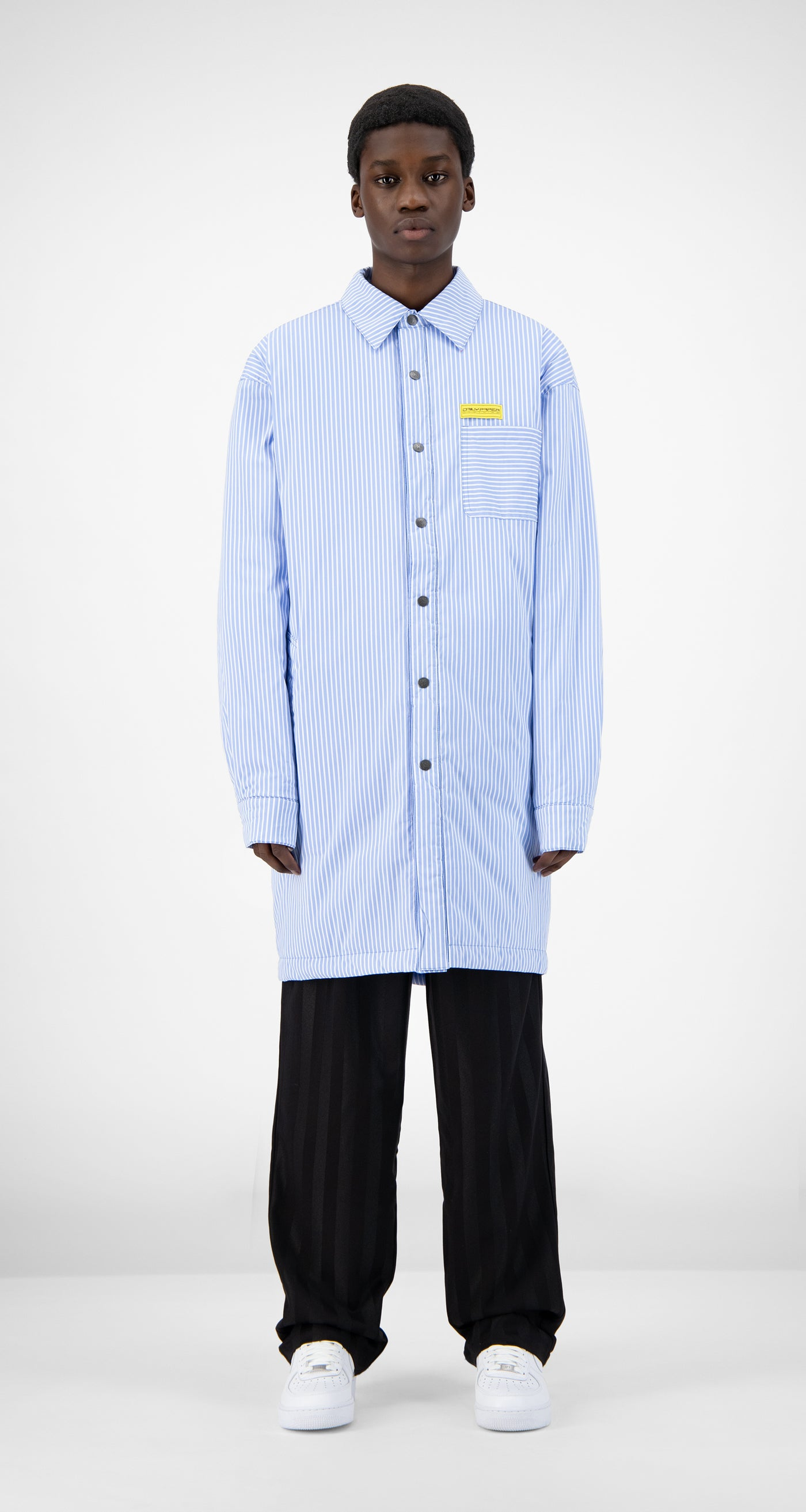 Daily Paper - Blue Striped Jair Padded Shirt - Men Front