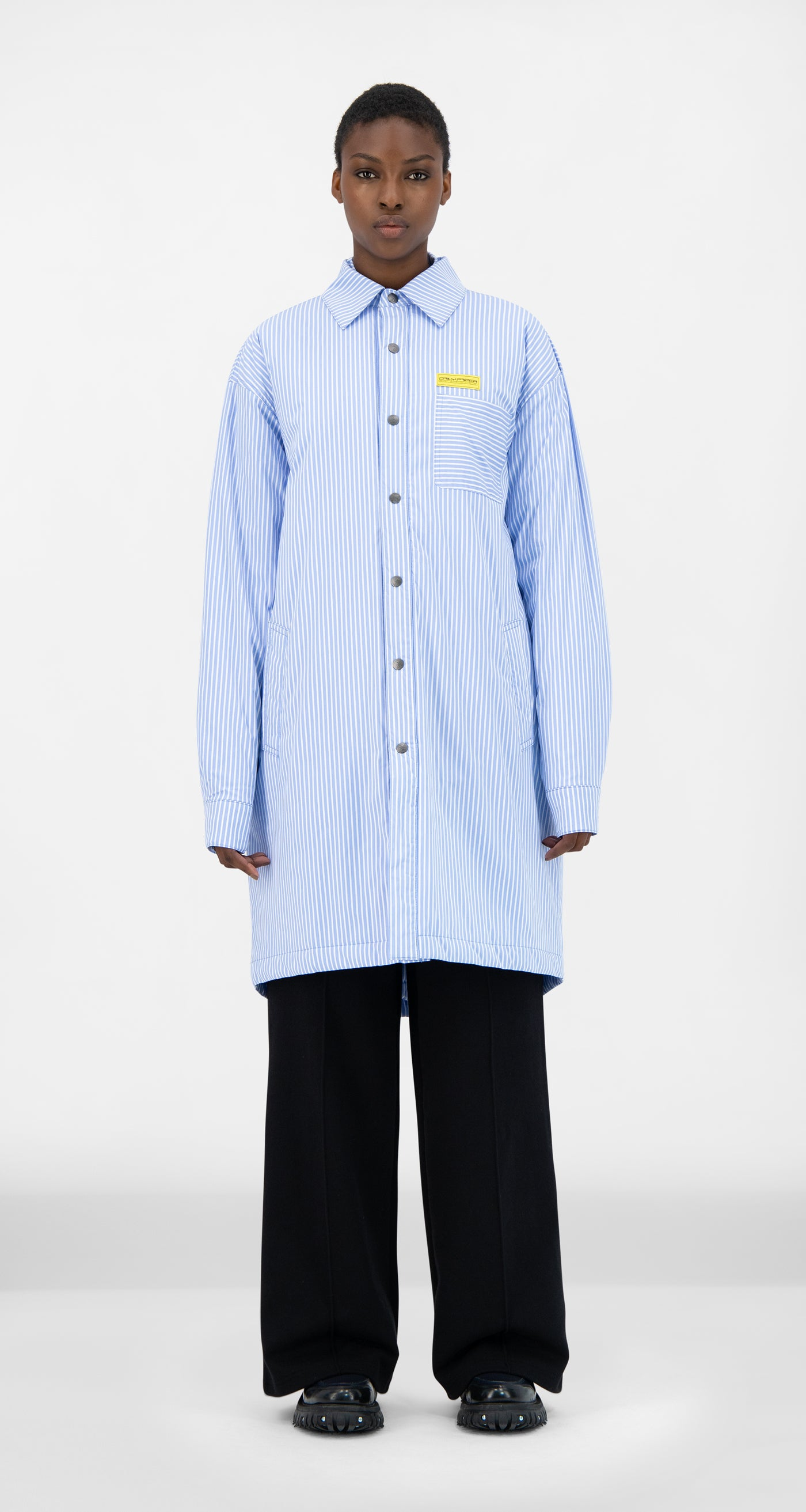 Daily Paper - Blue Striped Jair Padded Shirt - Women Front