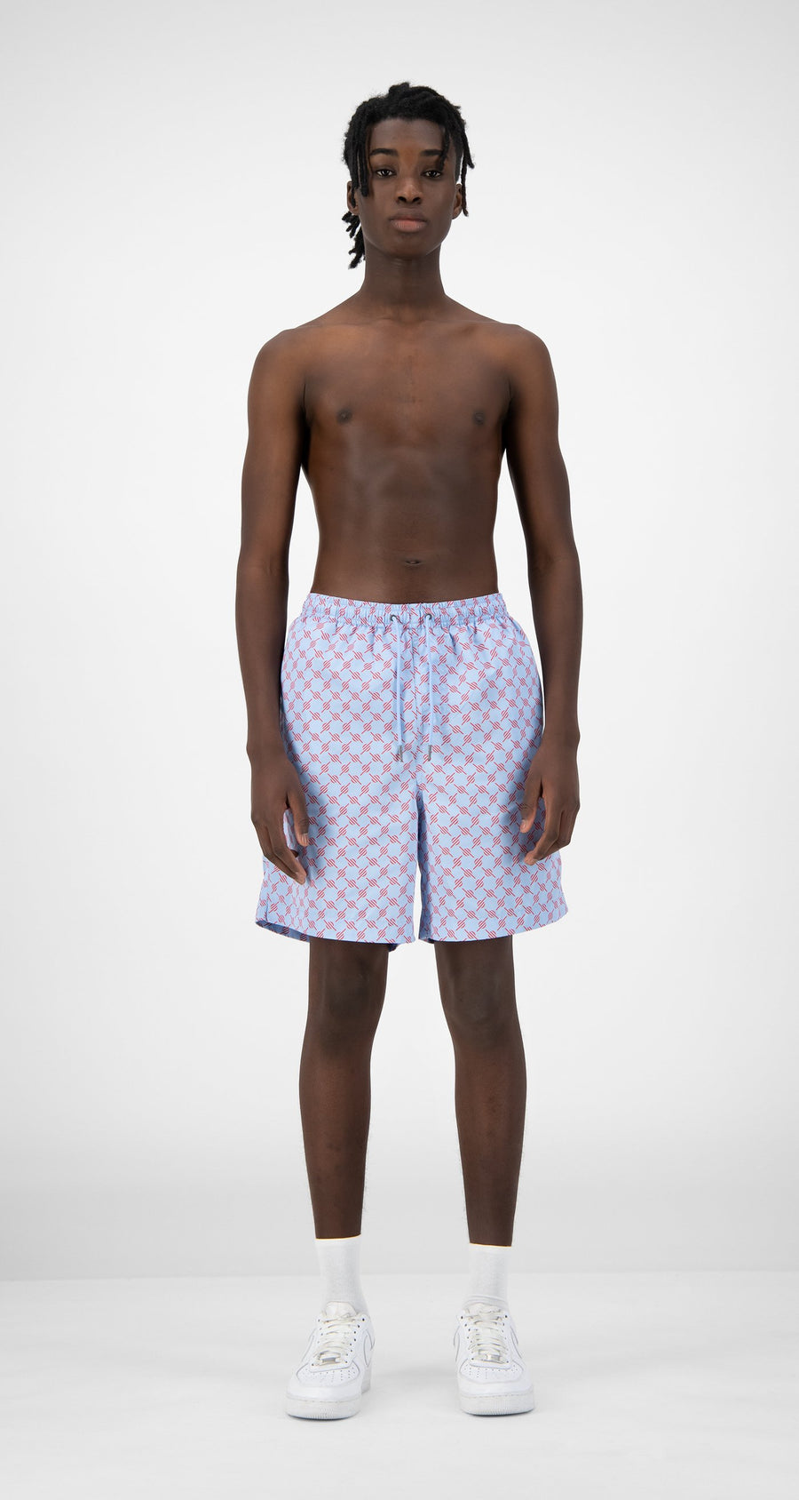 Daily Paper - Blue Red Monogram Kali Shorts - Men Rear