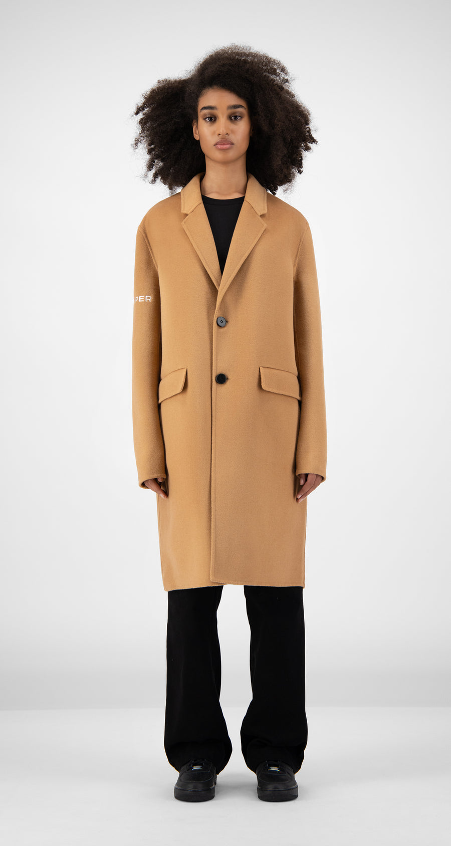 Daily Paper - Camel Wool Captain Coat Women Front