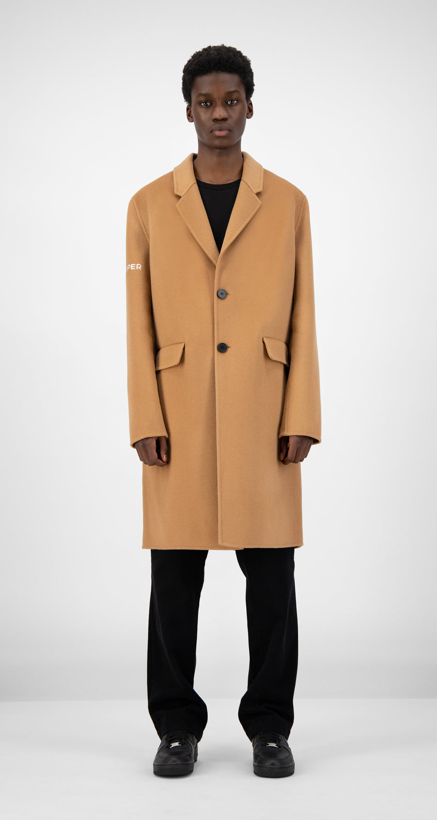 Daily Paper - Camel Wool Captain Coat Men Rear