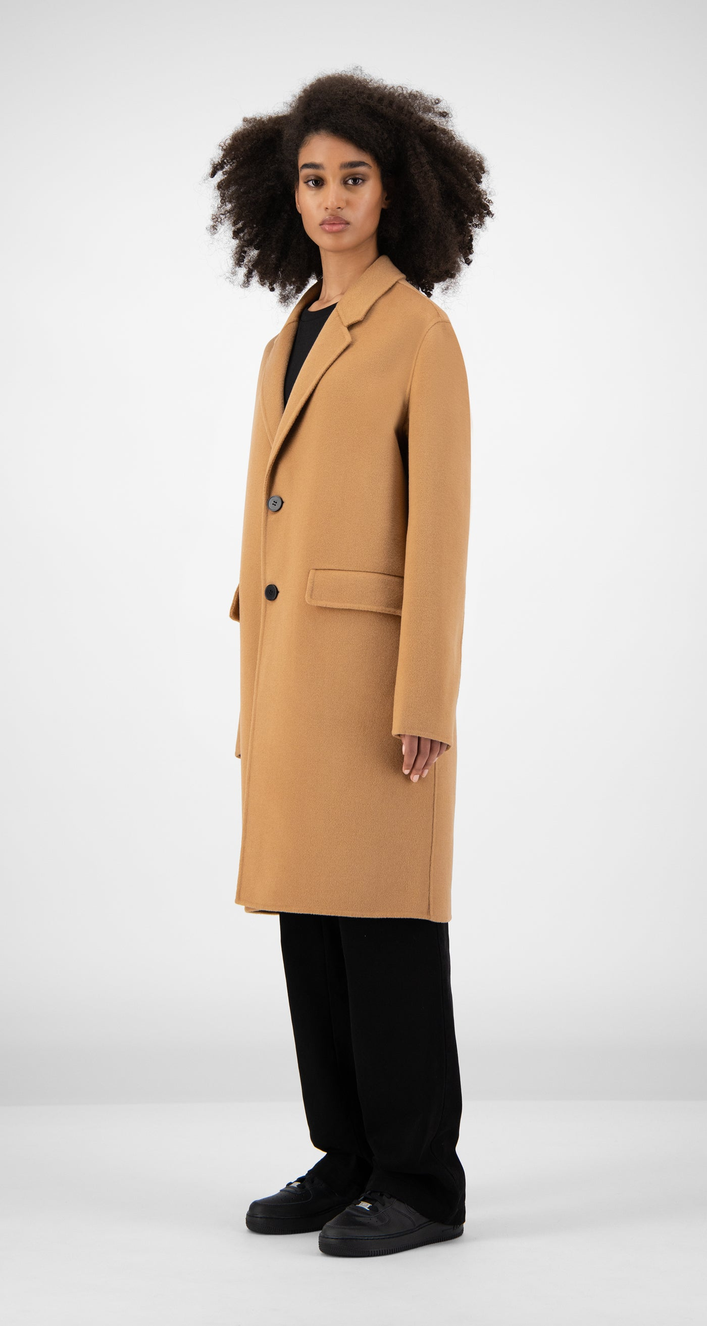 Daily Paper - Camel Wool Captain Coat Women Rear