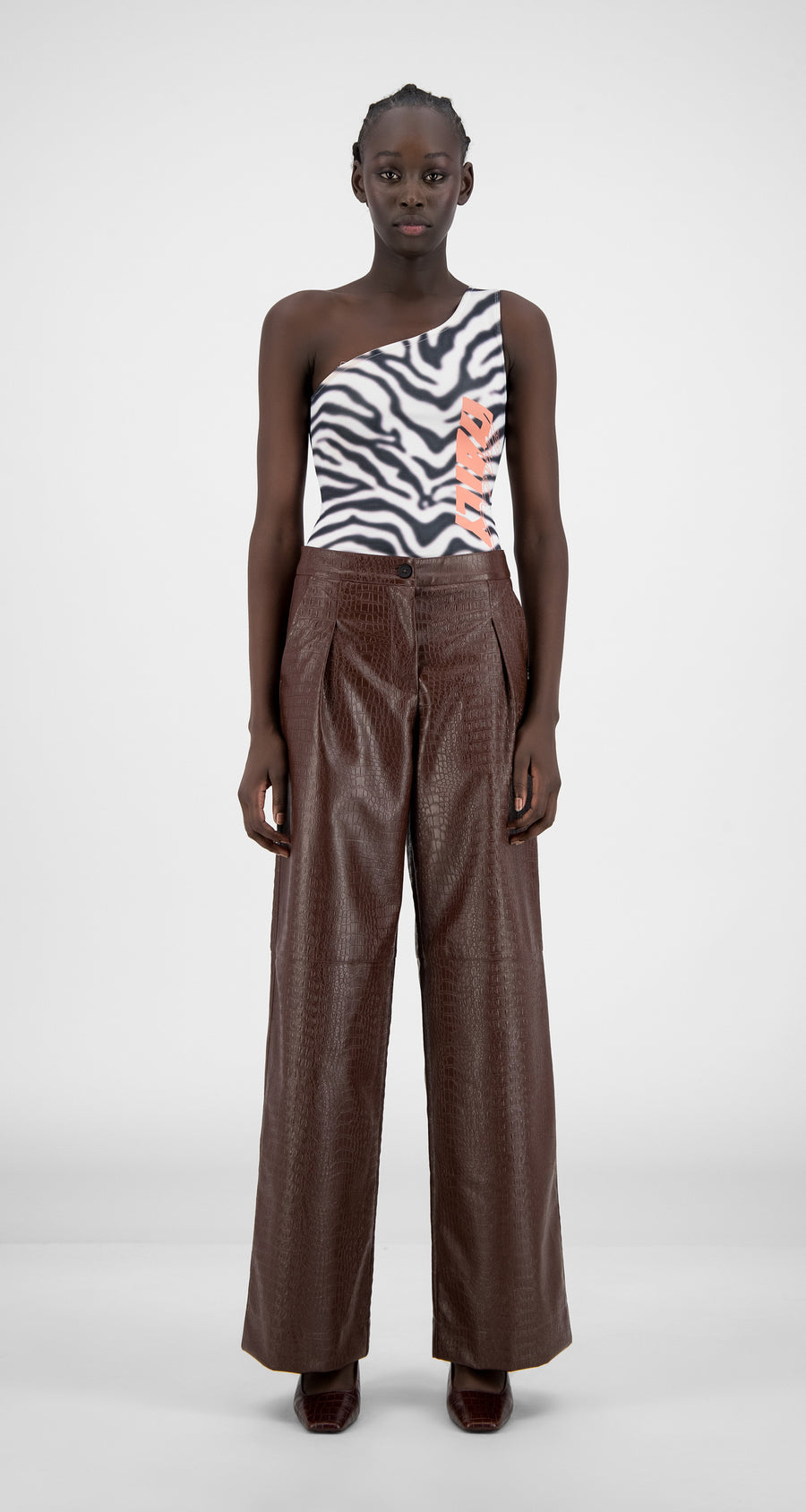 Daily Paper - Brown Croco Halla Pants - Women Front