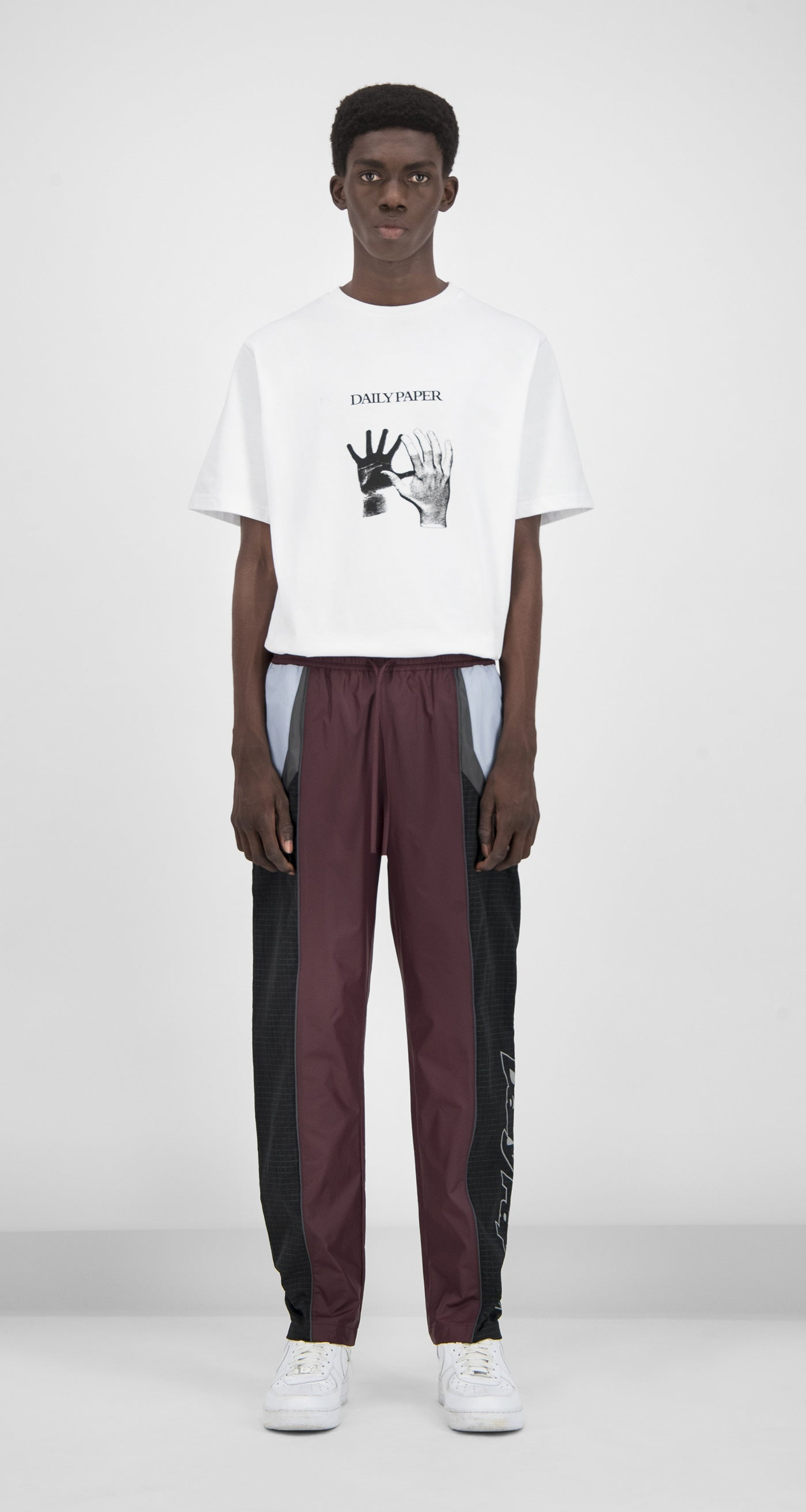 Daily Paper - Burgundy Reflective Guka Pants Men Front