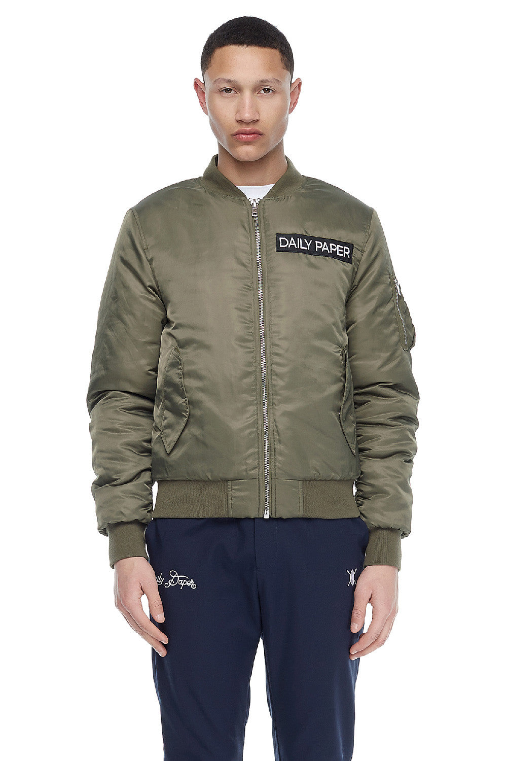 Green Nylon Bomber