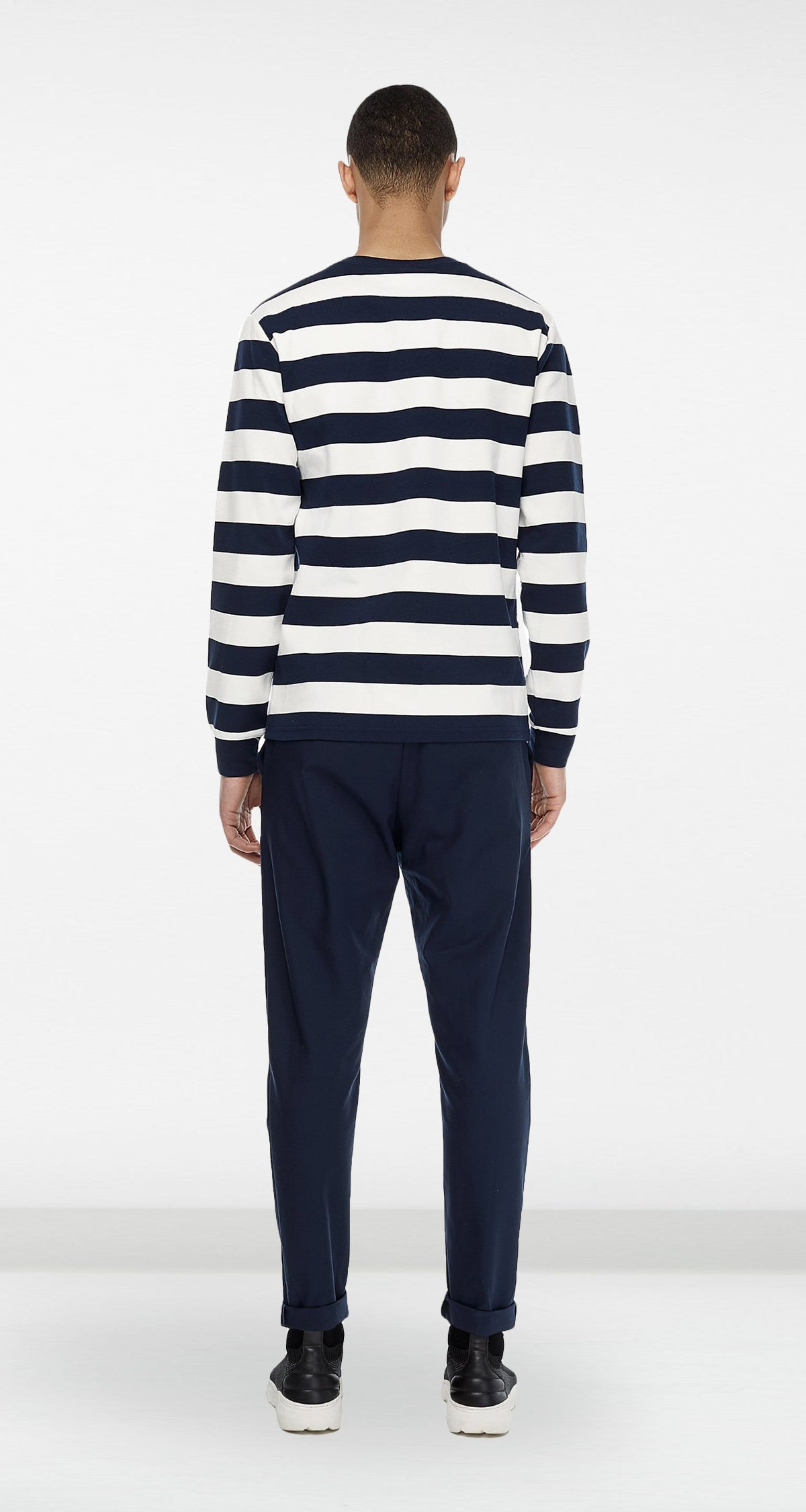Daily Paper - Navy Striped Longsleeve Men Rear