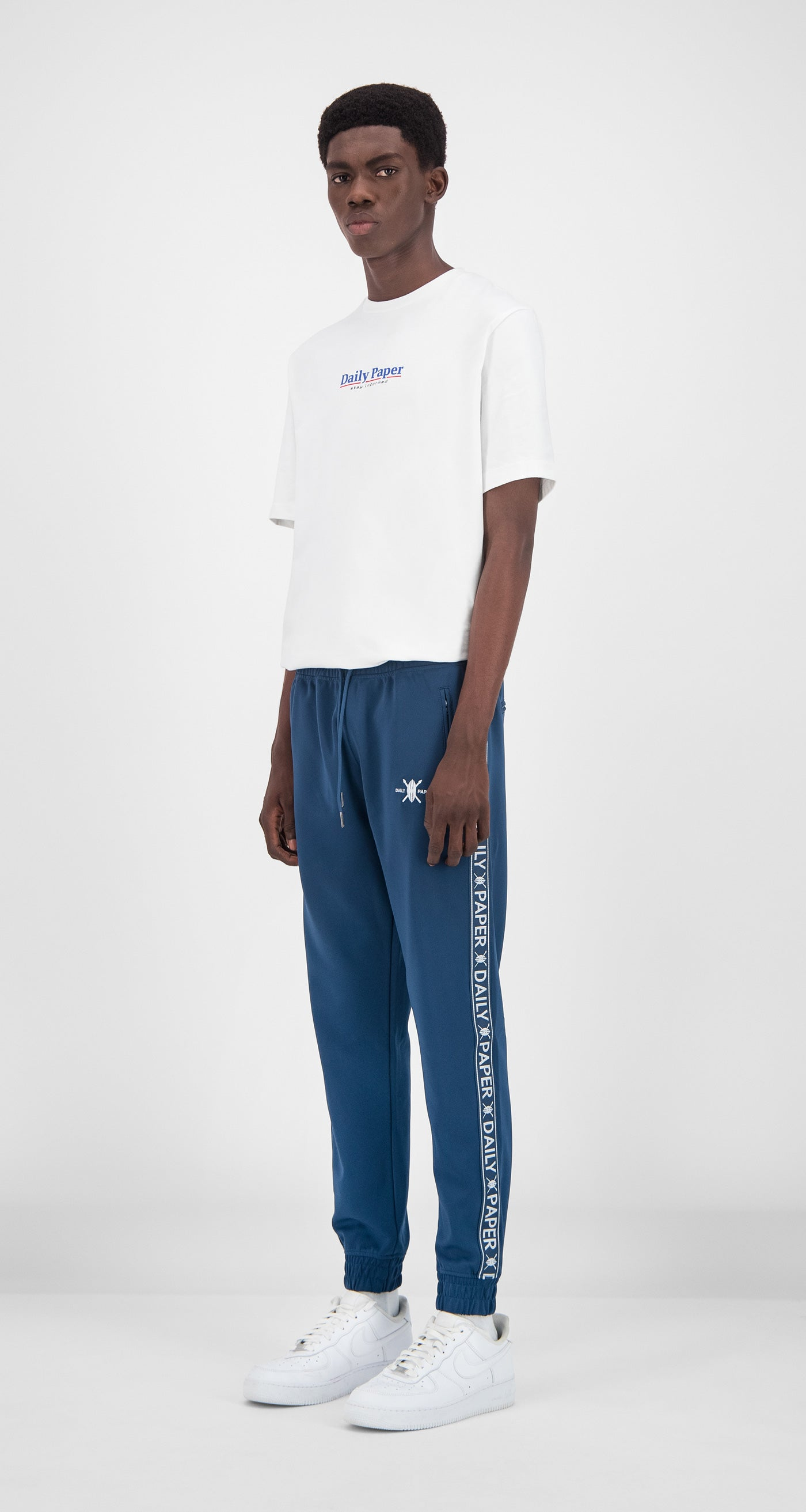 Daily Paper - Dark Blue Tape Logo Track Pants Men Front
