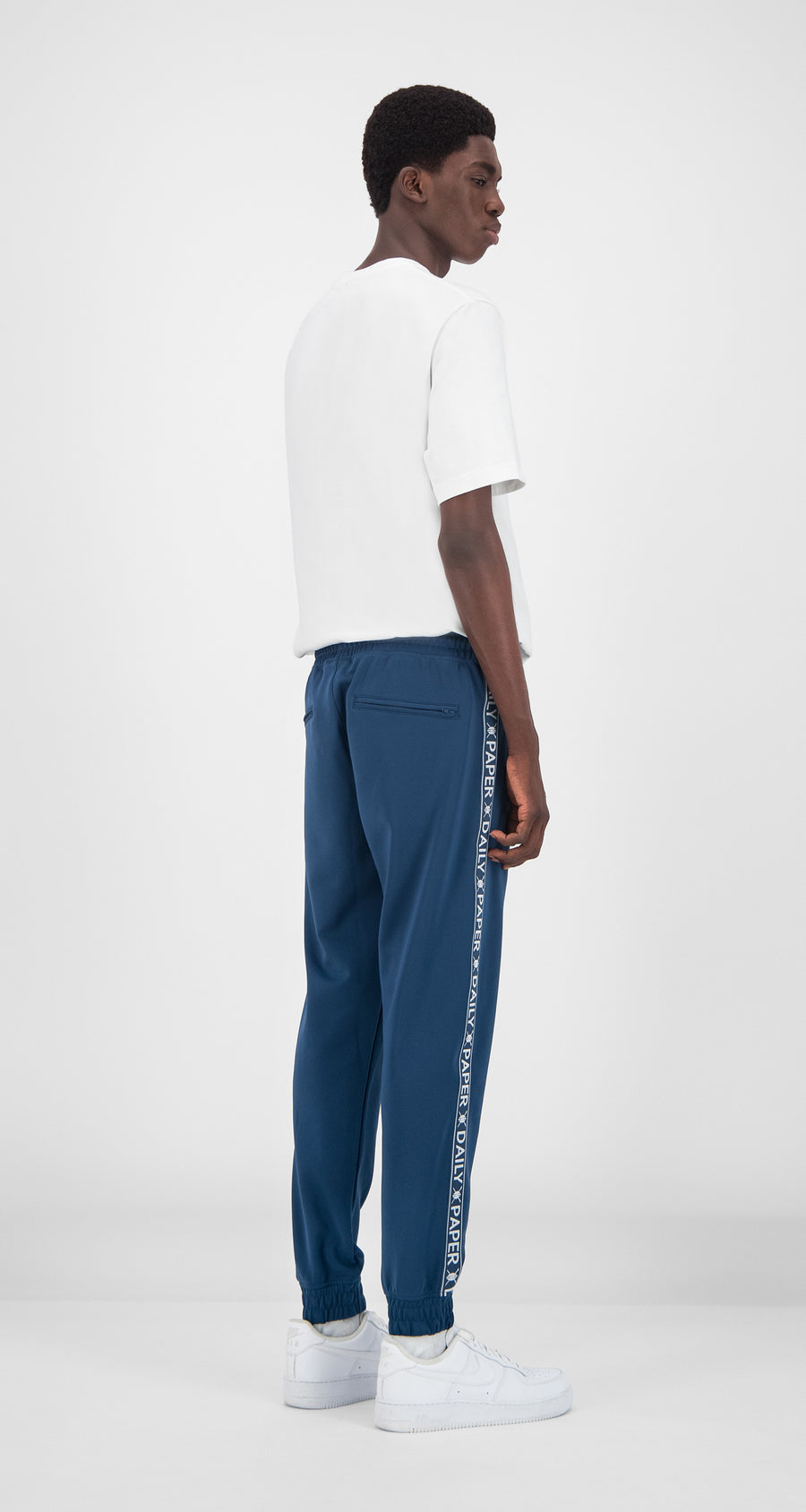 Daily Paper - Dark Blue Tape Logo Track Pants Men Rear