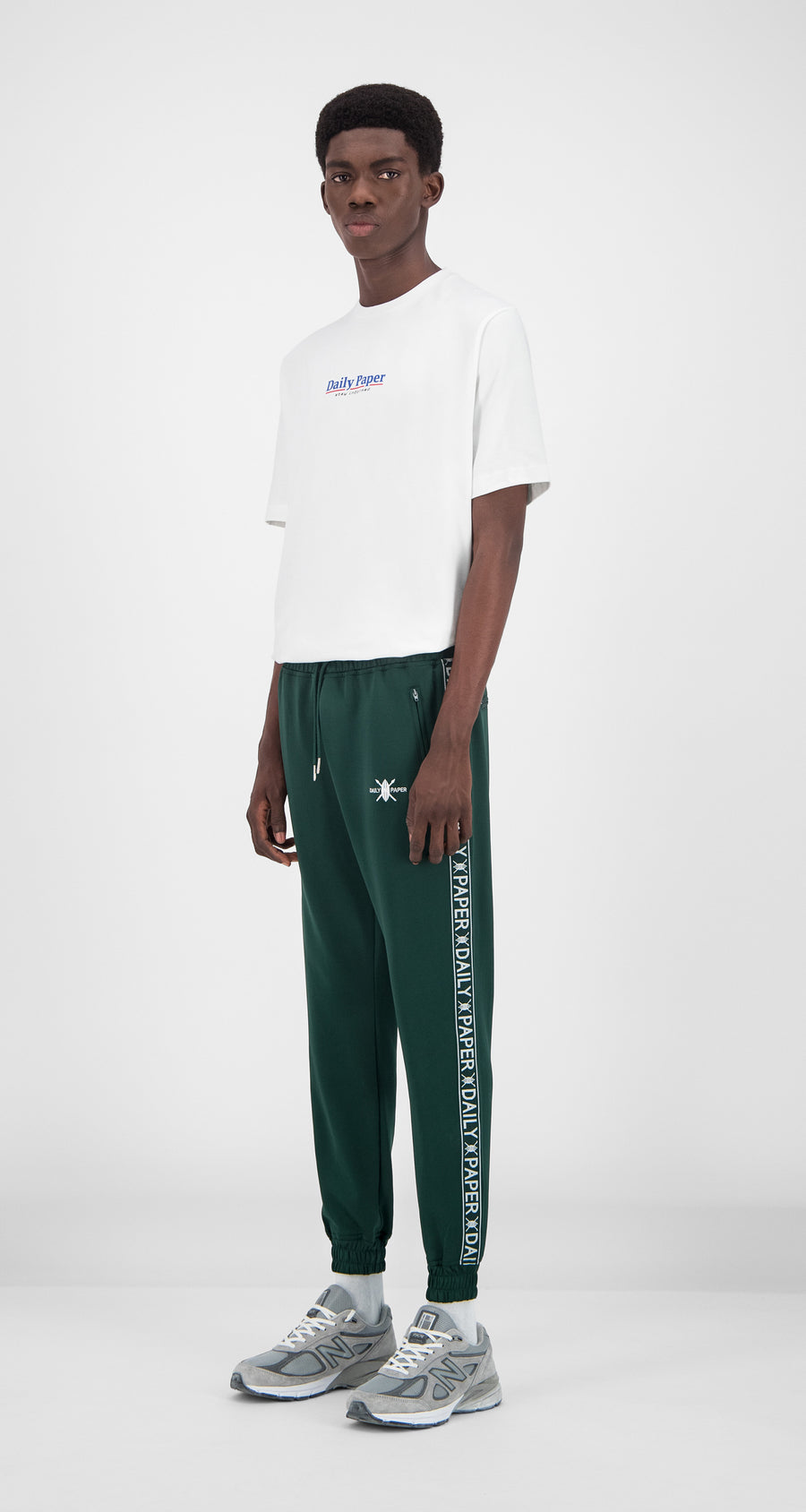 Daily Paper - Dark Green Tape Logo Track Pants Men Front