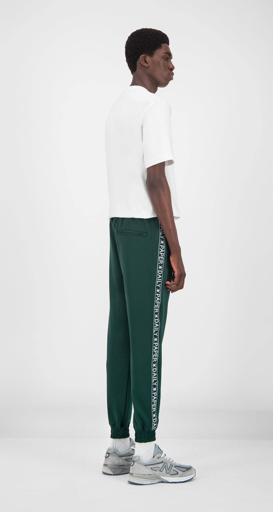 Daily Paper - Dark Green Tape Logo Track Pants Men Rear
