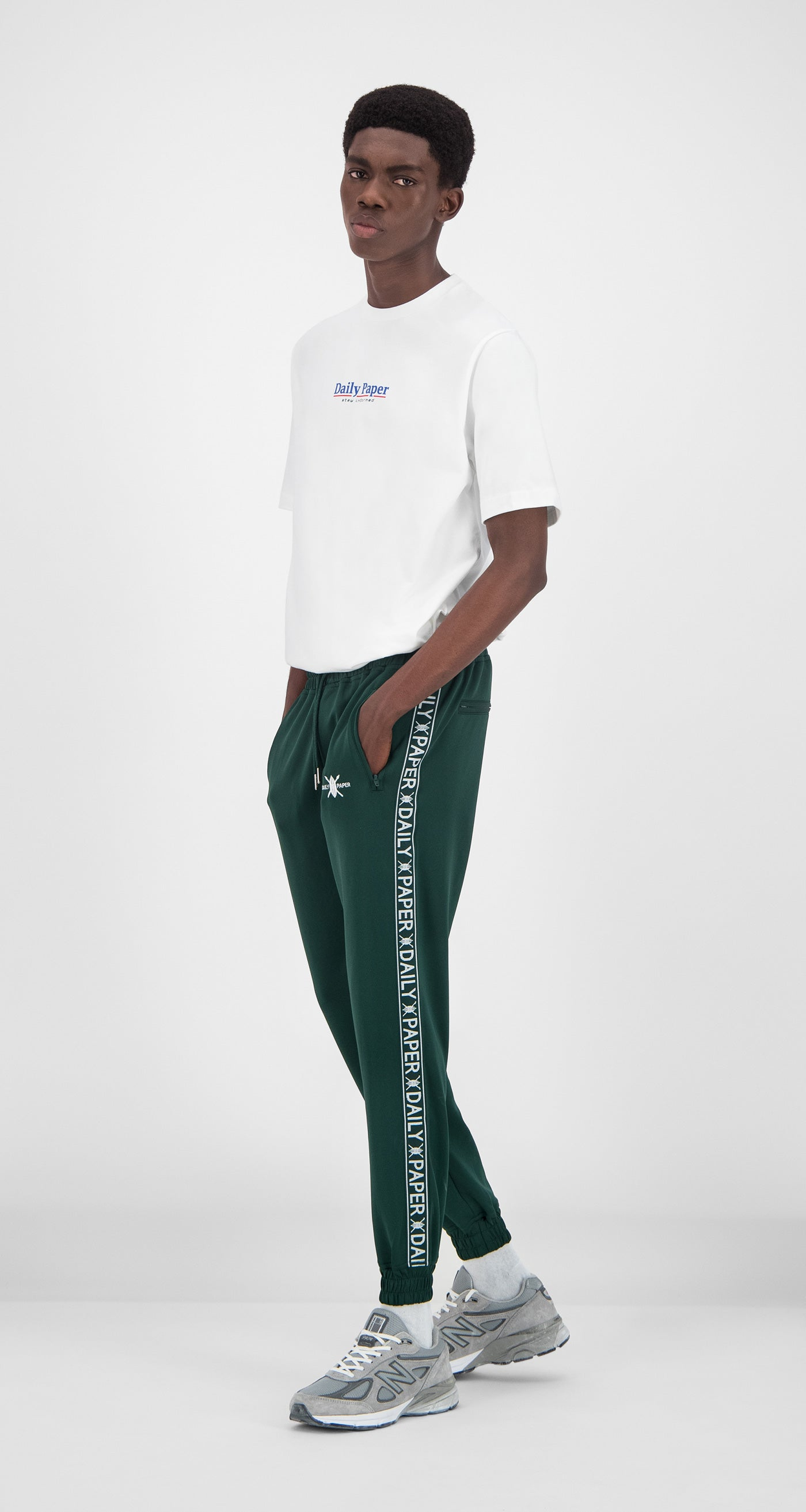 Daily Paper - Dark Green Tape Logo Track Pants Men