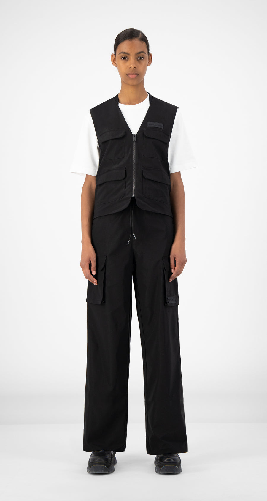 Daily Paper - Black Recargo Trackpants - Women Front