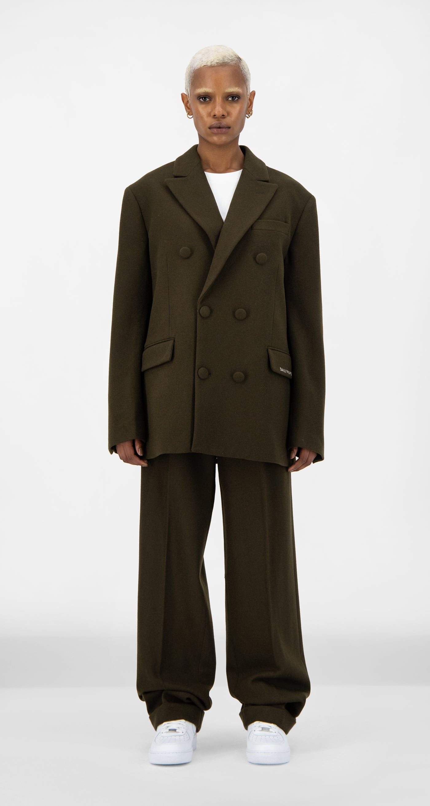 Daily Paper - Forest Brown Eheck Blazer - Women Front
