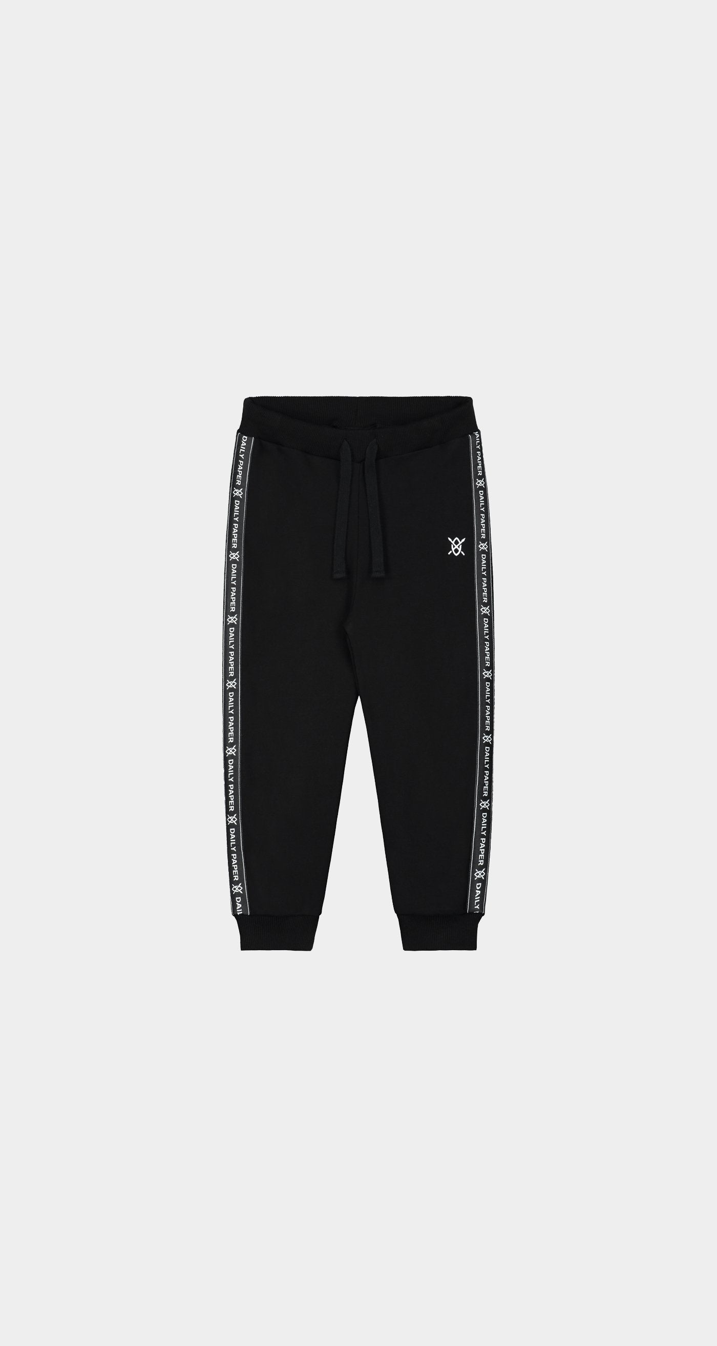 Daily Paper - Black Kids Tape Logo Pants - Front