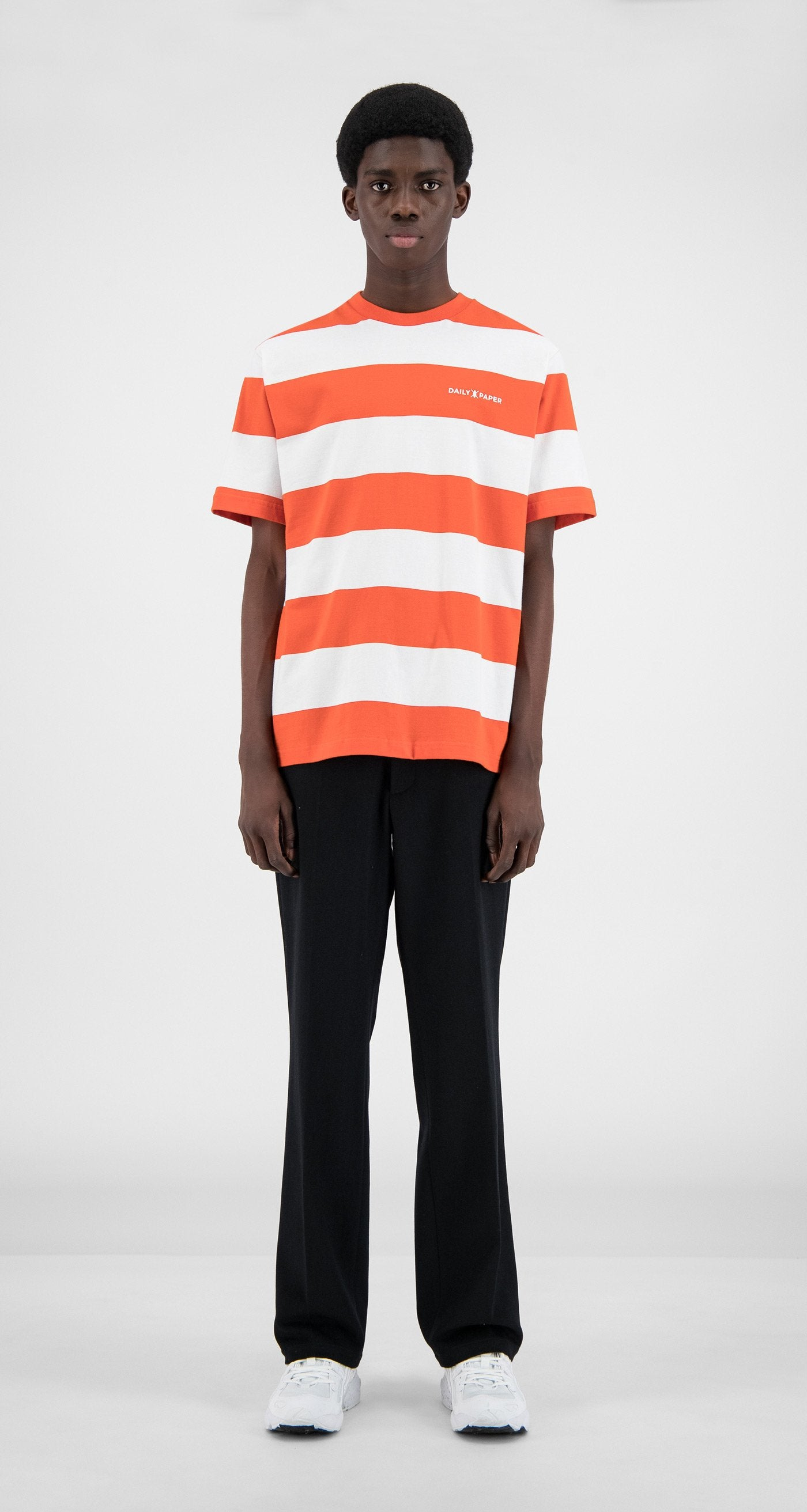 Daily Paper - Flame Orange Stripe T-Shirt - Men Front