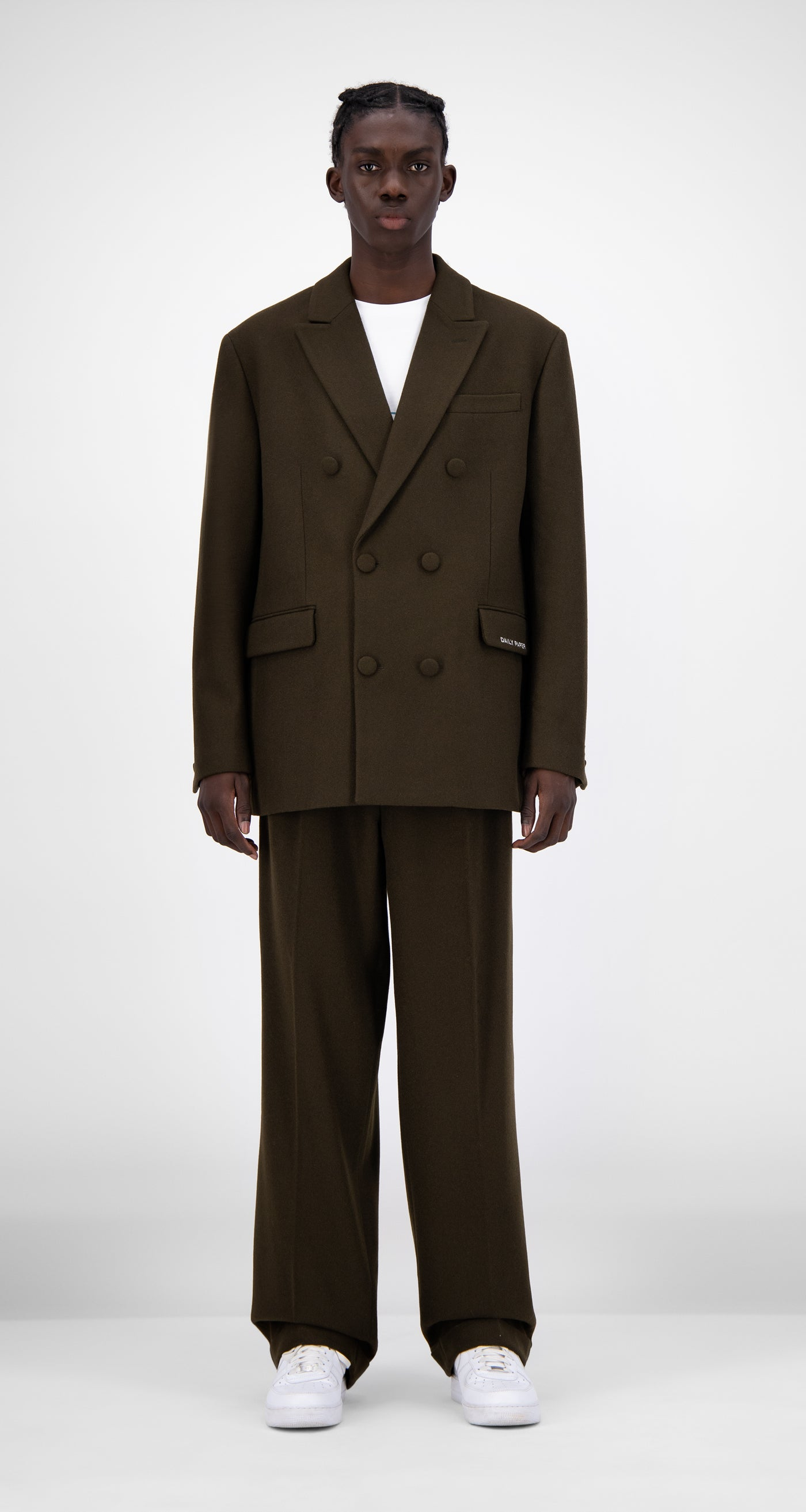 Daily Paper - Forest Brown Eheck Blazer - Men Front