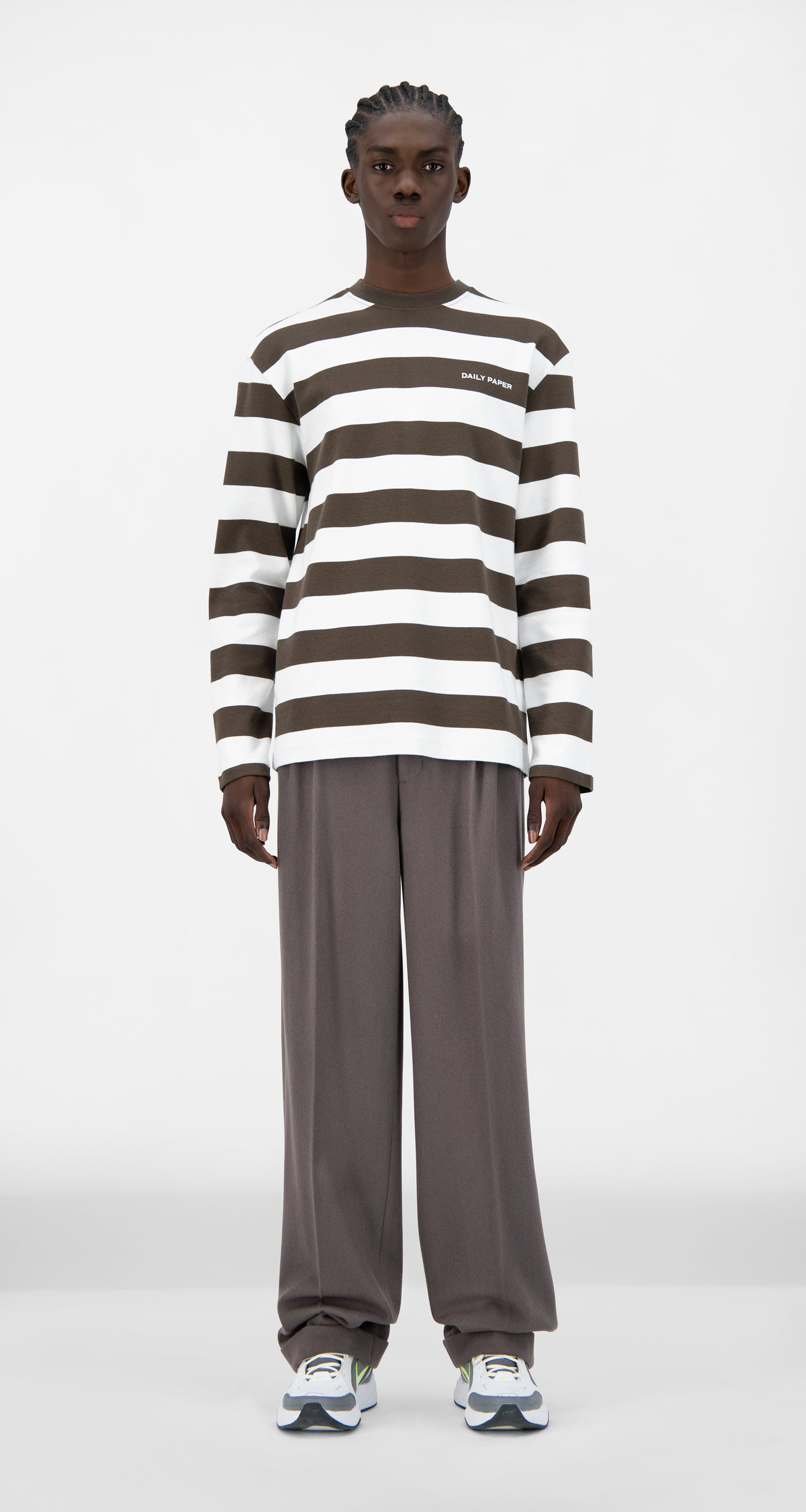 Daily Paper - Forest Brown Striped Pith Longsleeve - Men Front