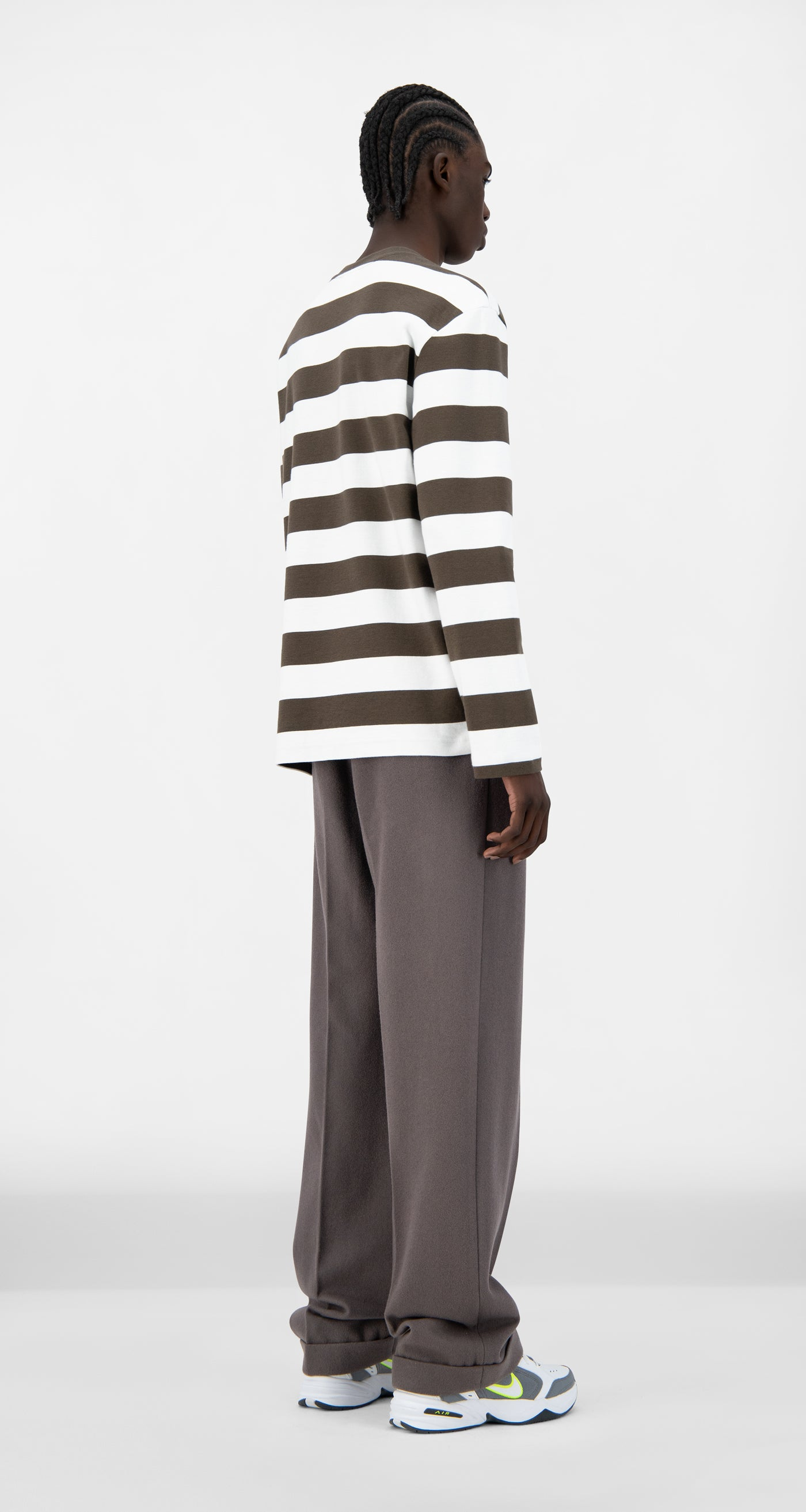 Daily Paper - Forest Brown Striped Pith Longsleeve - Men Rear