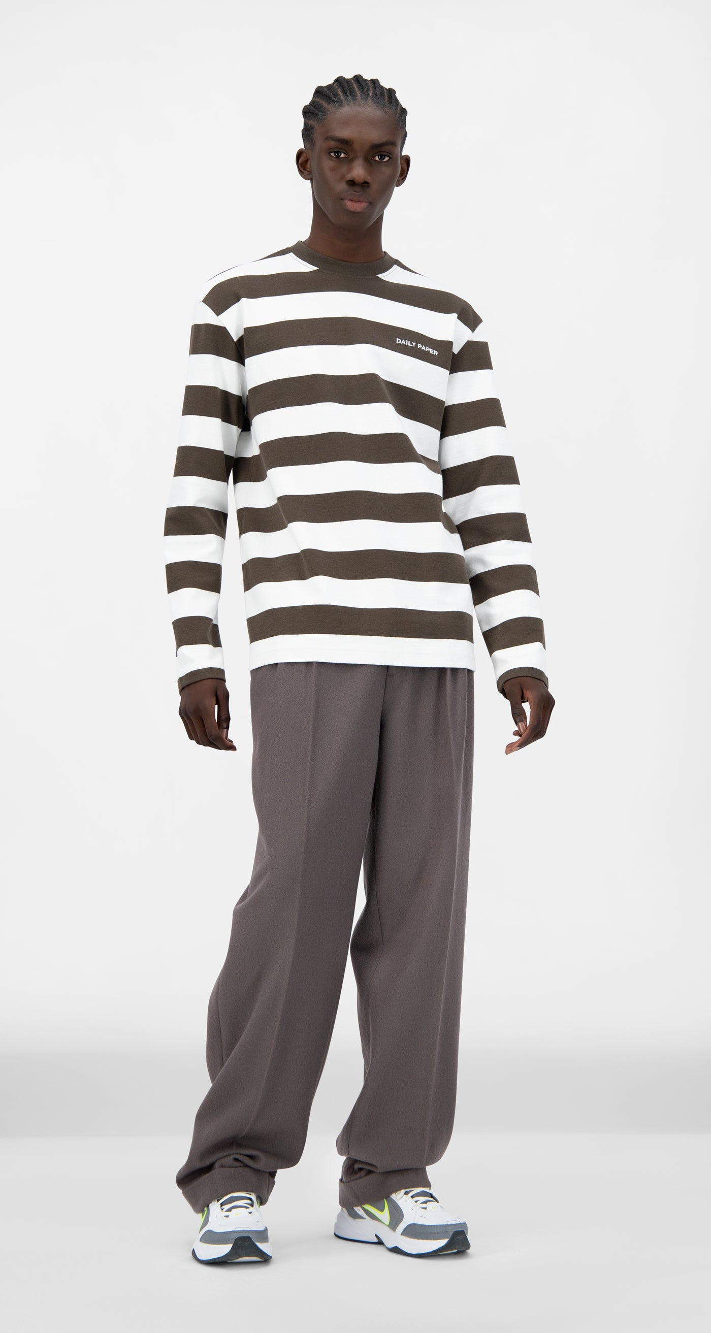 Daily Paper - Forest Brown Striped Pith Longsleeve - Men