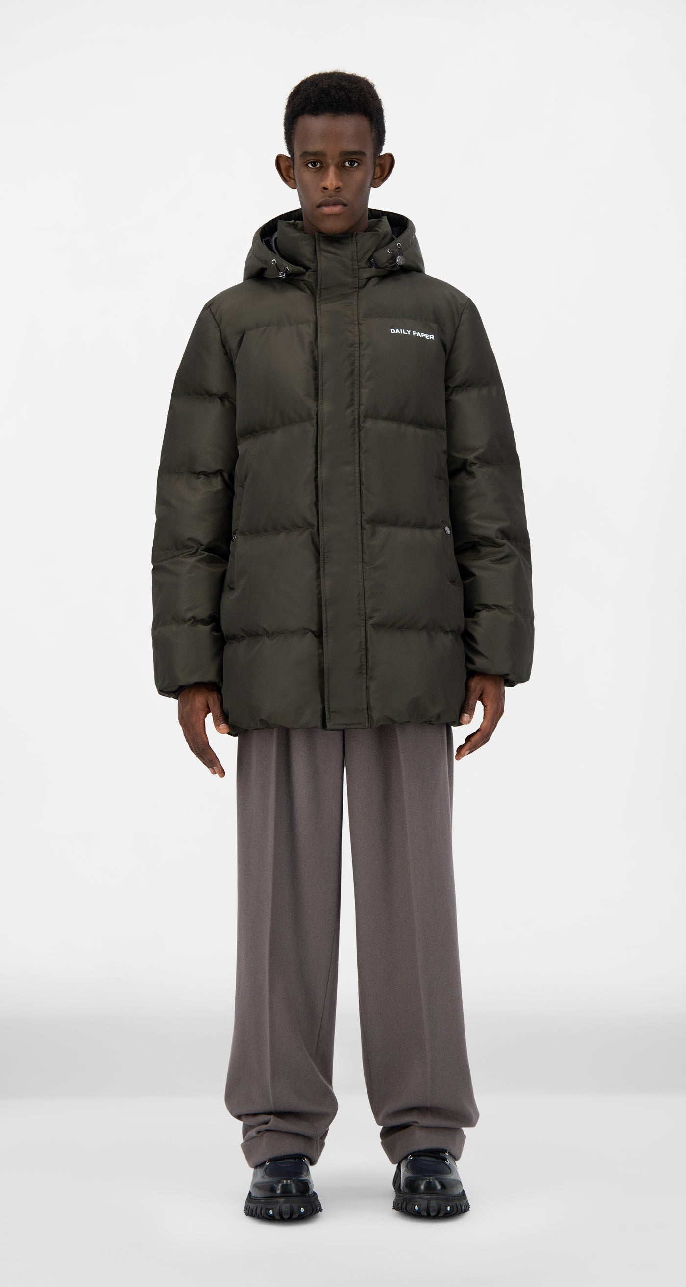 Daily Paper - Forest Green Epuffa Mid Jacket - Men Front