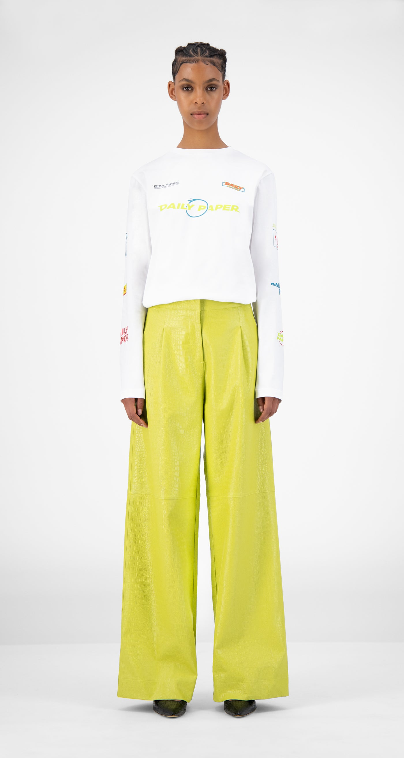 Daily Paper - Green Croco Jalla Pants - Women Front