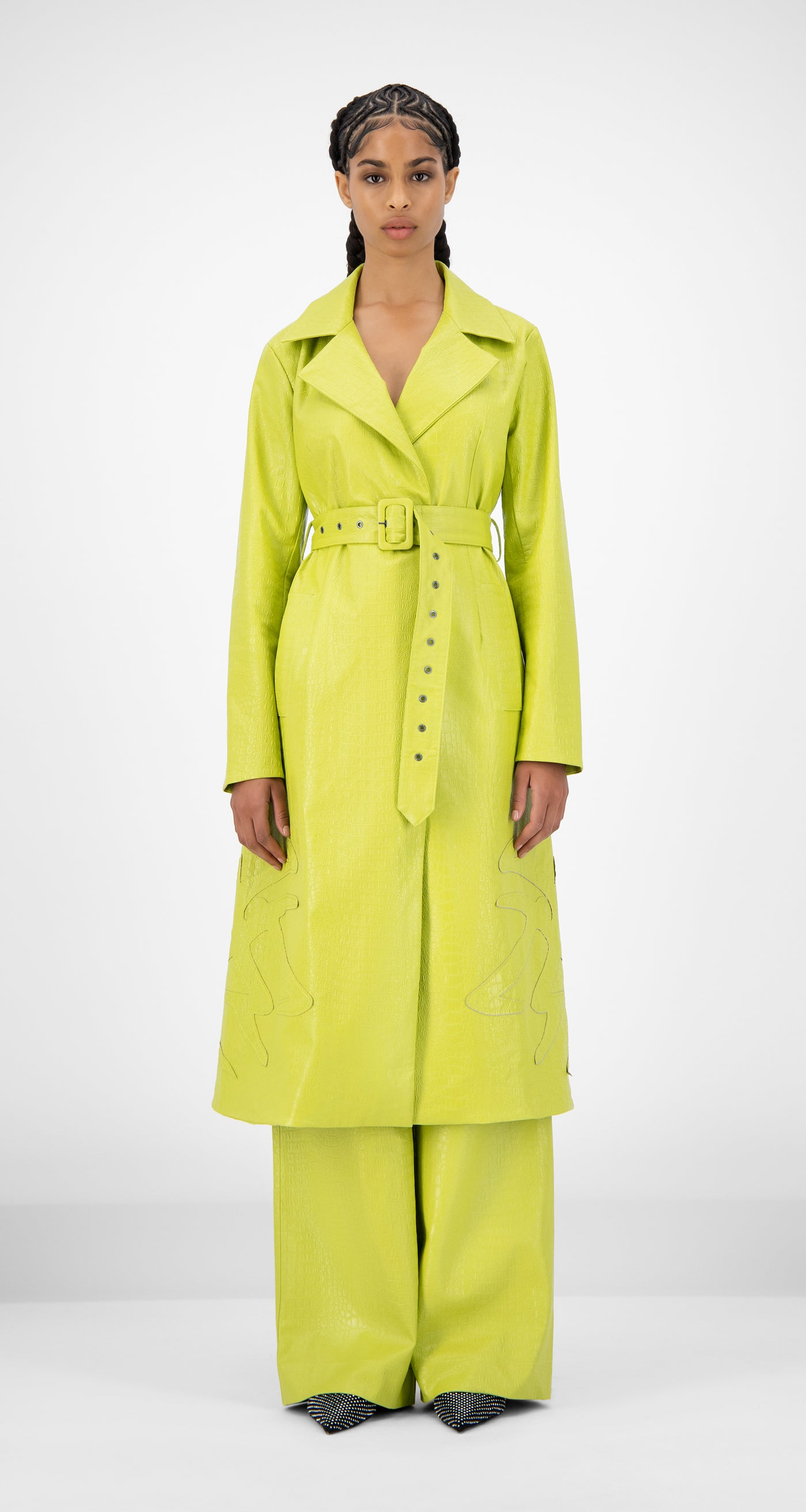 Daily Paper - Green Croco Jedoun Coat - Women Front