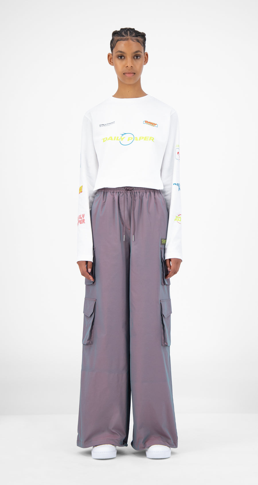 Daily Paper - Purple Green Reflective Jensine Pants - Women Front