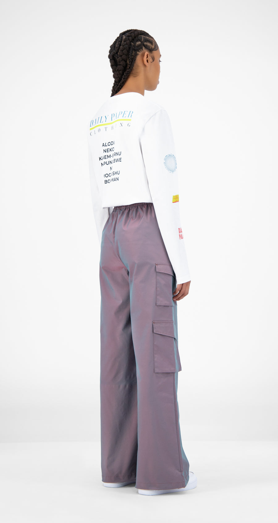 Daily Paper - Purple Green Reflective Jensine Pants - Women Rear