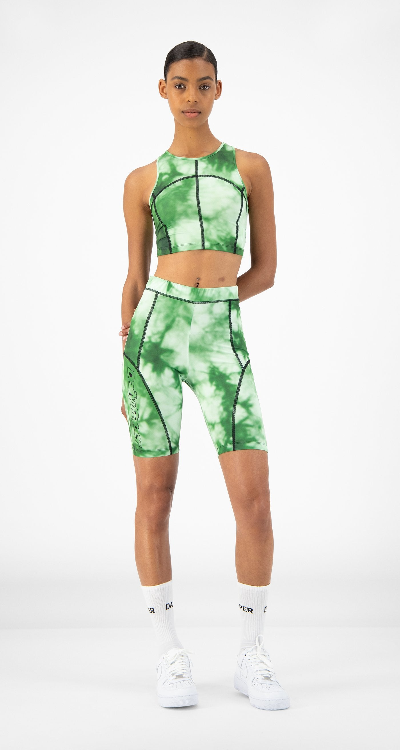 Daily Paper - Green Tie Dye Rebike Shorts - Women