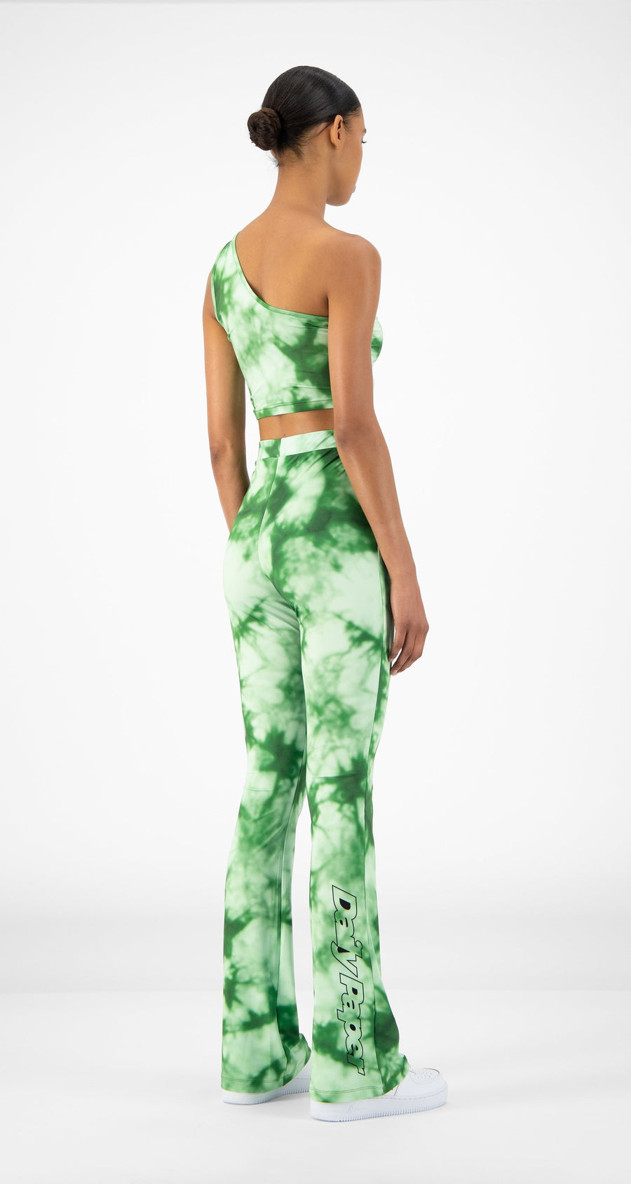 Daily Paper - Green Tie Dye Reflare Pants - Women Rear