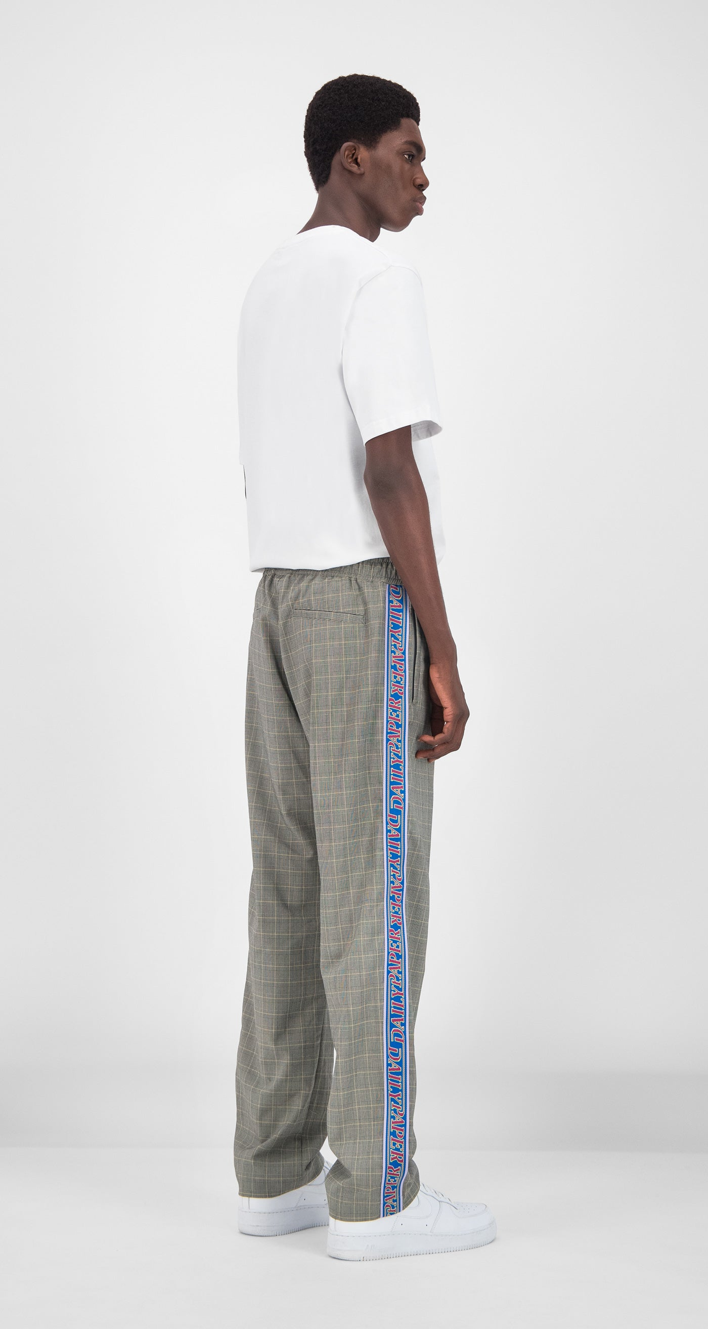 Daily Paper - Grey Yellow Checked Getape Pants Men Rear