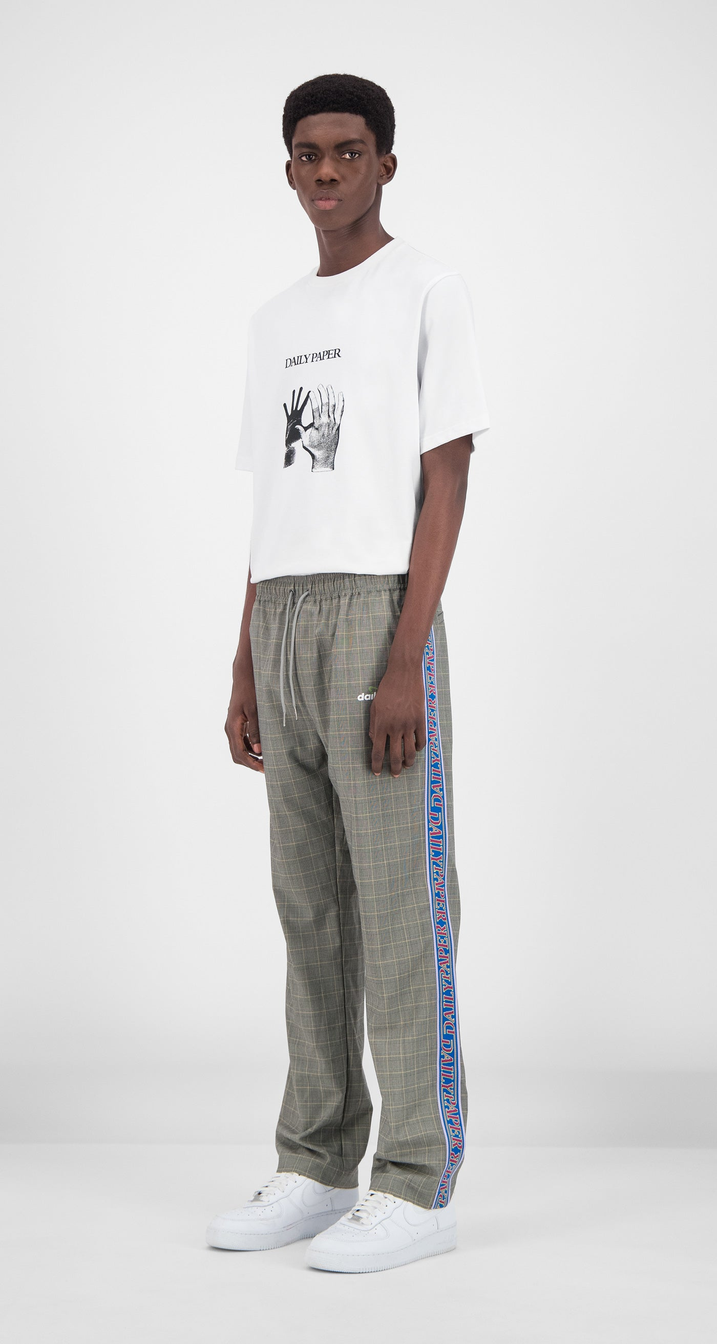 Daily Paper - Grey Yellow Checked Getape Pants Men