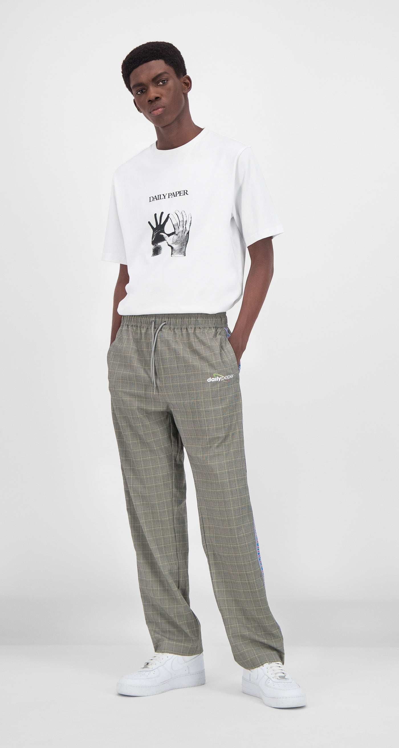 Daily Paper - Grey Yellow Checked Getape Pants Men Front