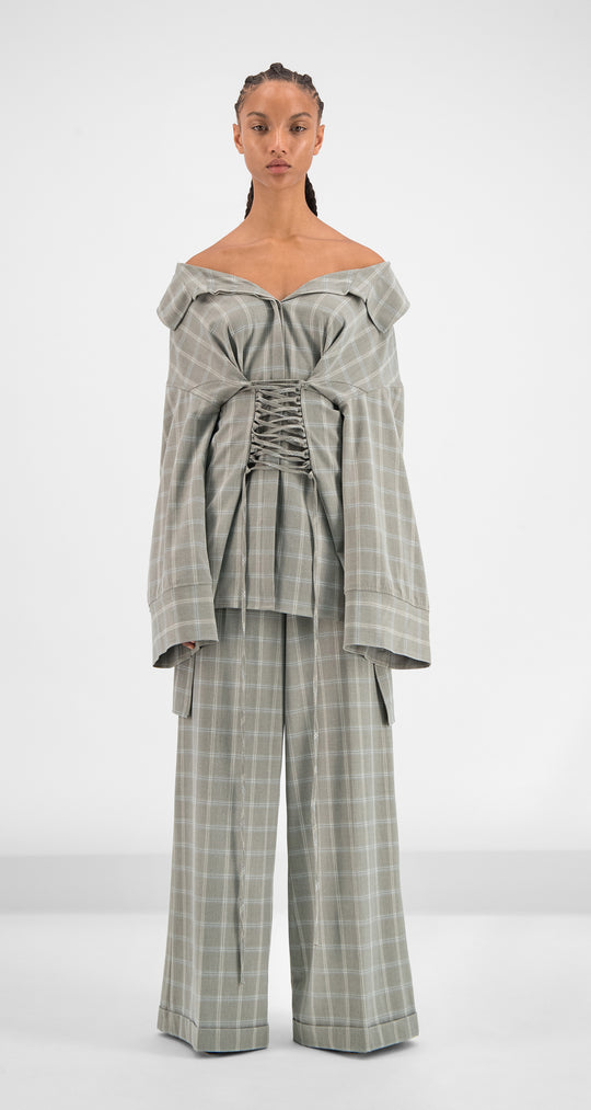 Daily Paper - Grey Purple Pinstripe Gaya Top Women Front