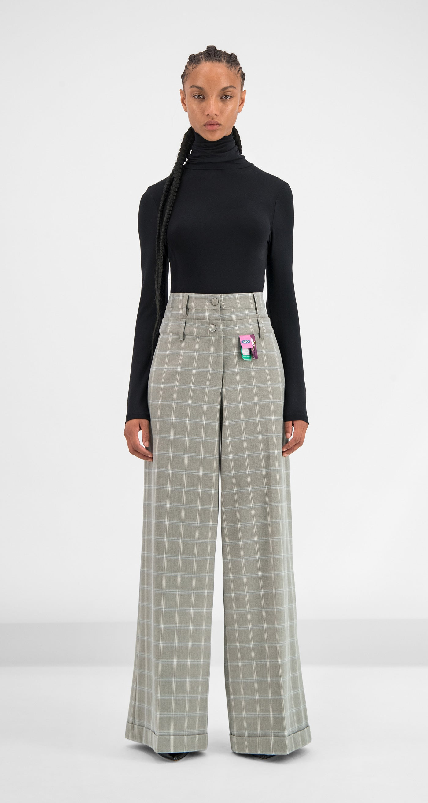 Daily Paper - Grey Blue Checked Geck Pants Women Front