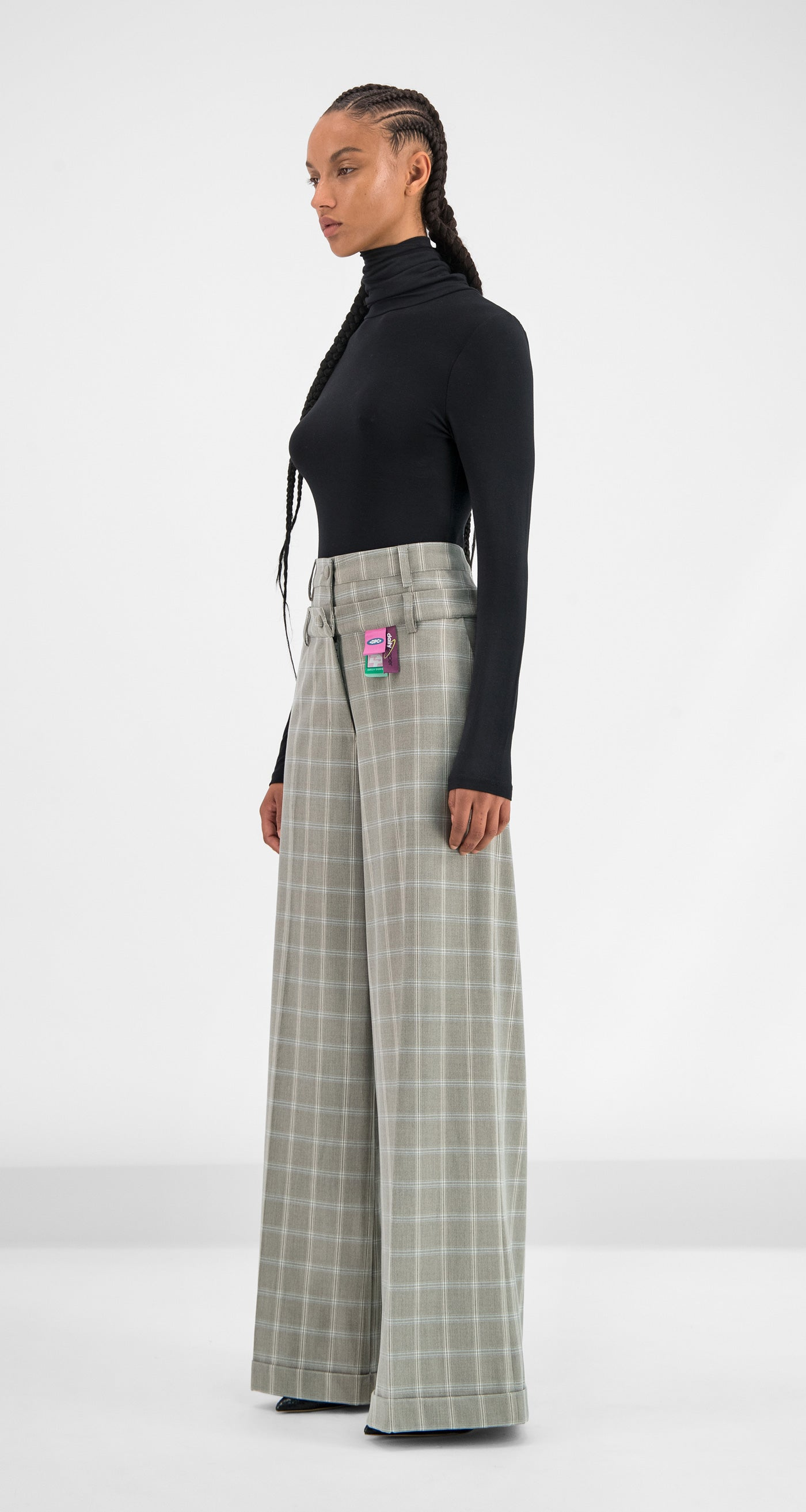 Daily Paper - Grey Blue Checked Geck Pants Women