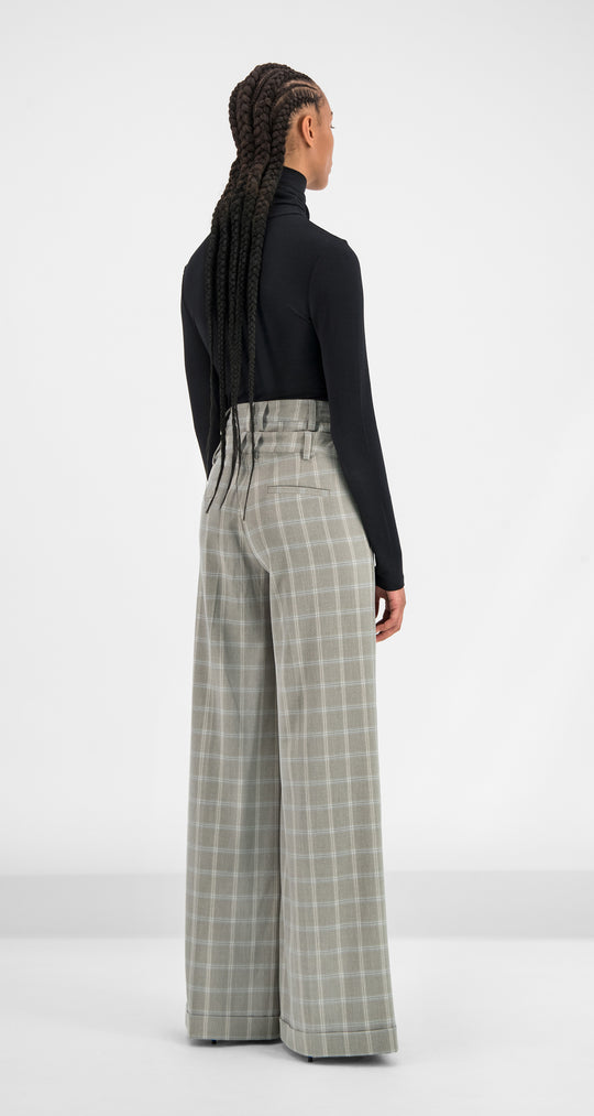 Daily Paper - Grey Blue Checked Geck Pants Women Rear