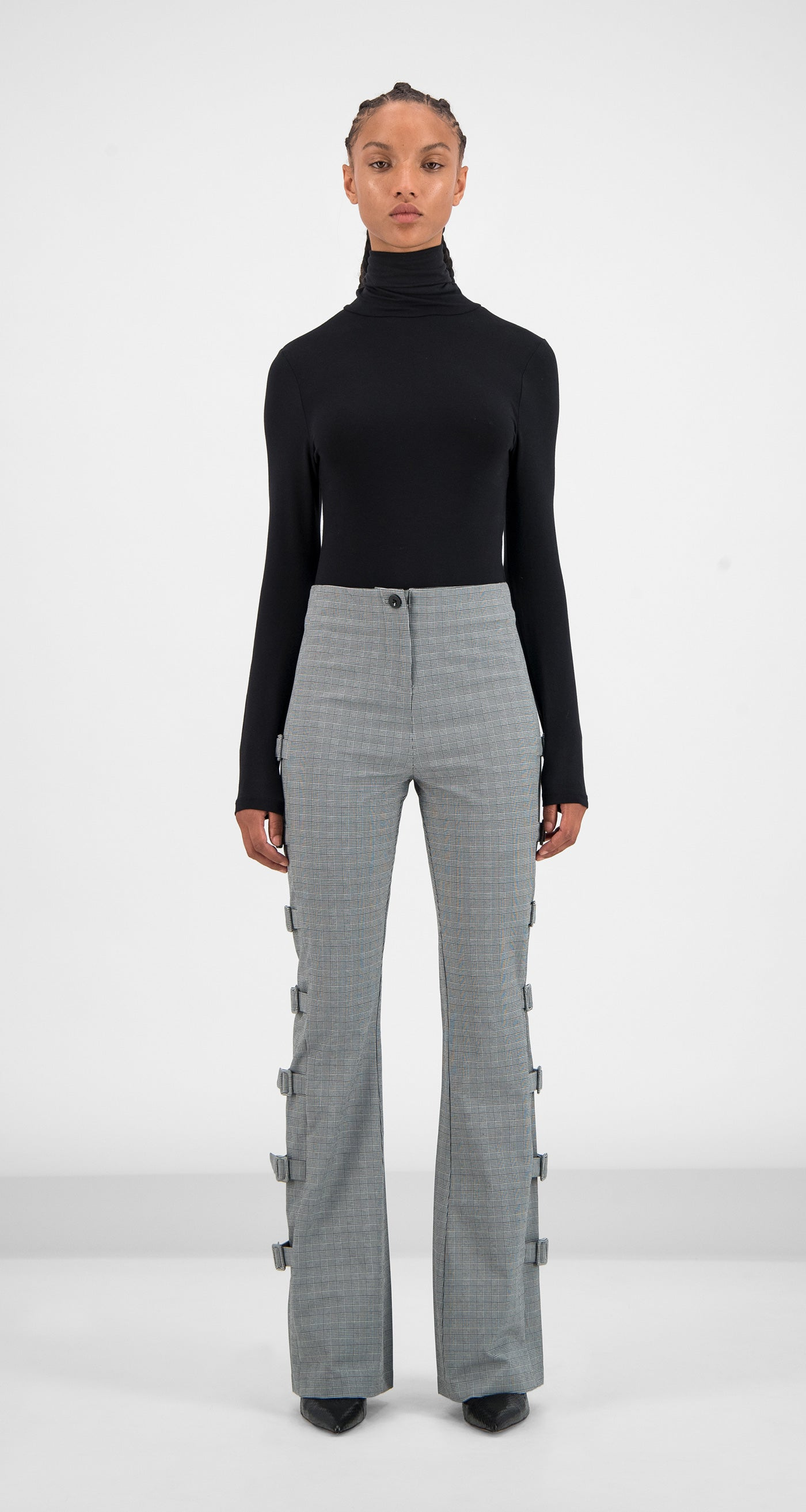 Daily Paper - Grey Checked Geline Pants Women Front