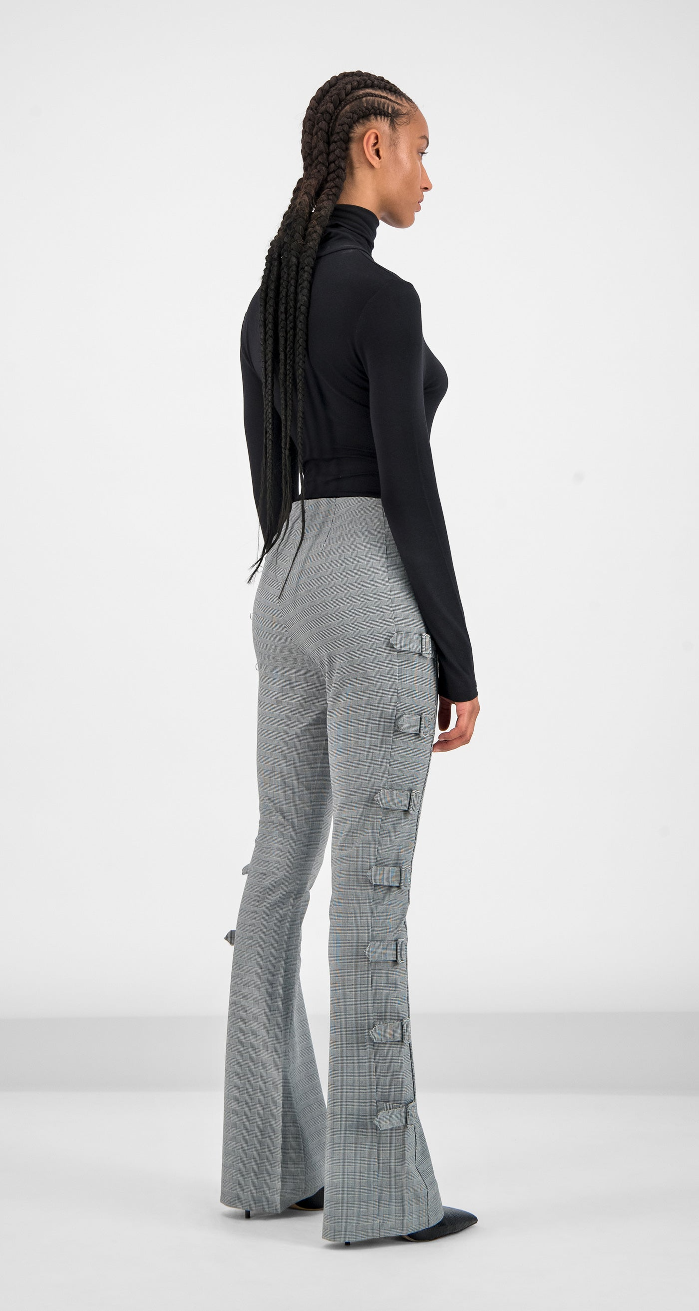 Daily Paper - Grey Checked Geline Pants Women Rear